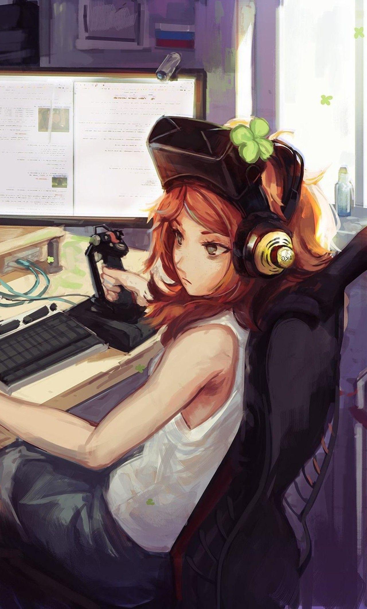 Gamer kawaii anime girl Anime Gamer