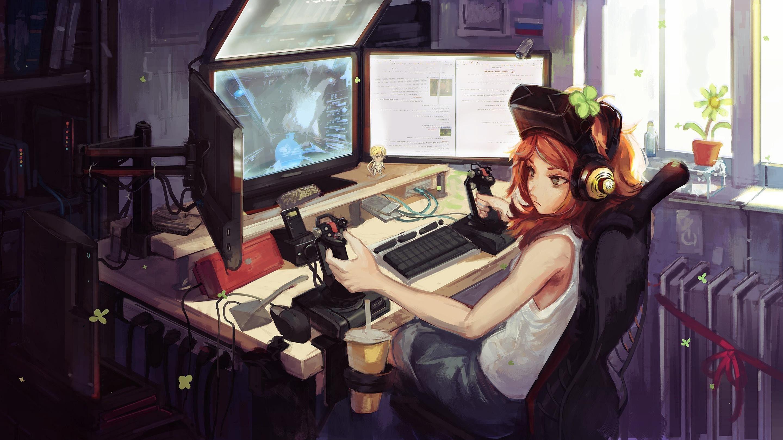 Cute Anime Gamer Girl Wallpapers Wallpaper Cave
