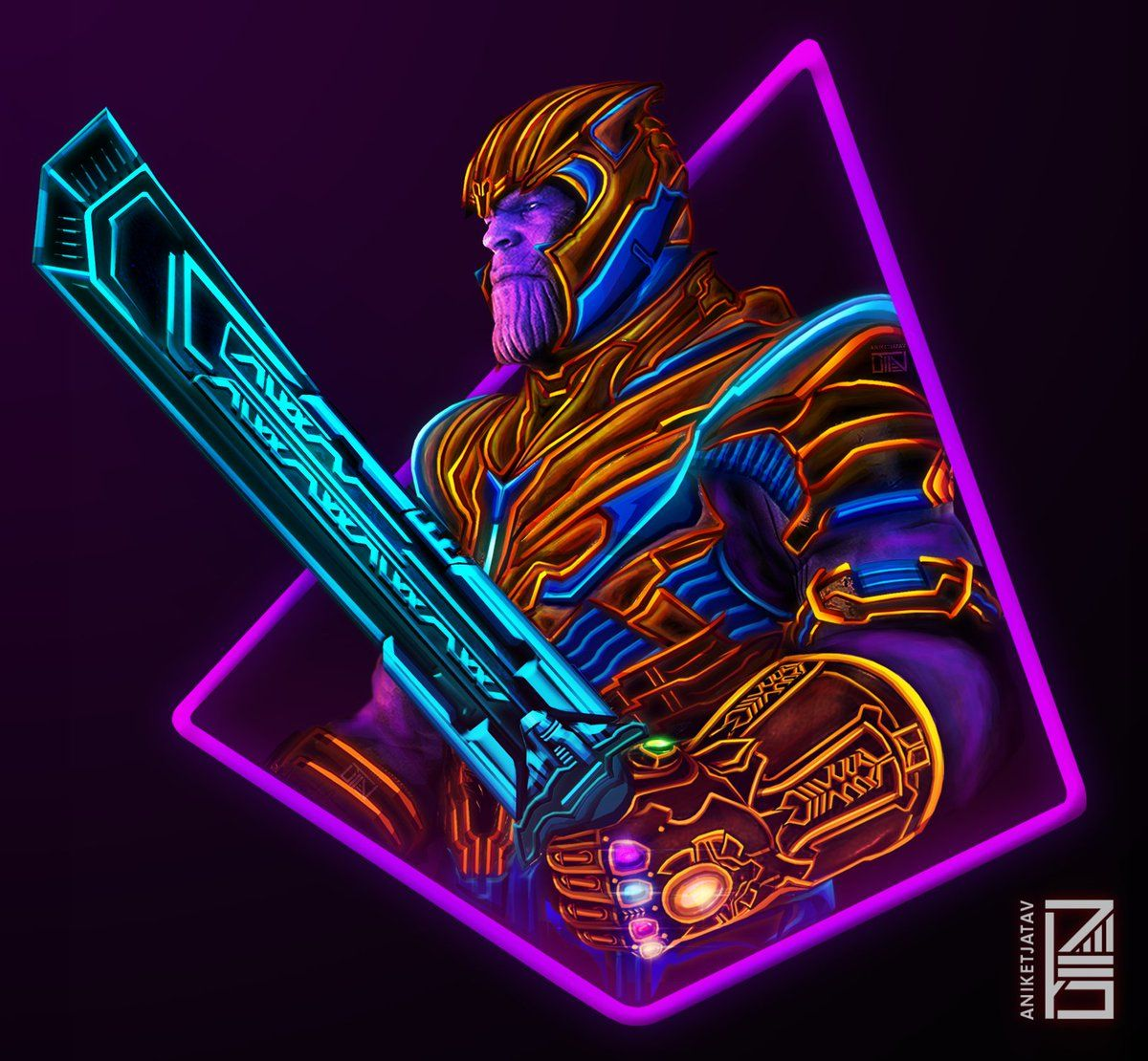 Thanos Neon Wallpapers - Wallpaper Cave