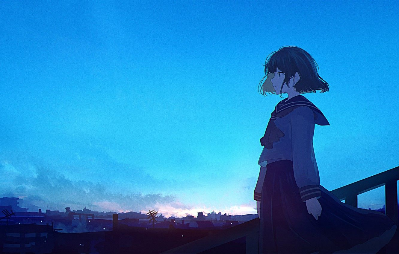 Wallpapers blue, anime, waifu, Director image for desktop, section