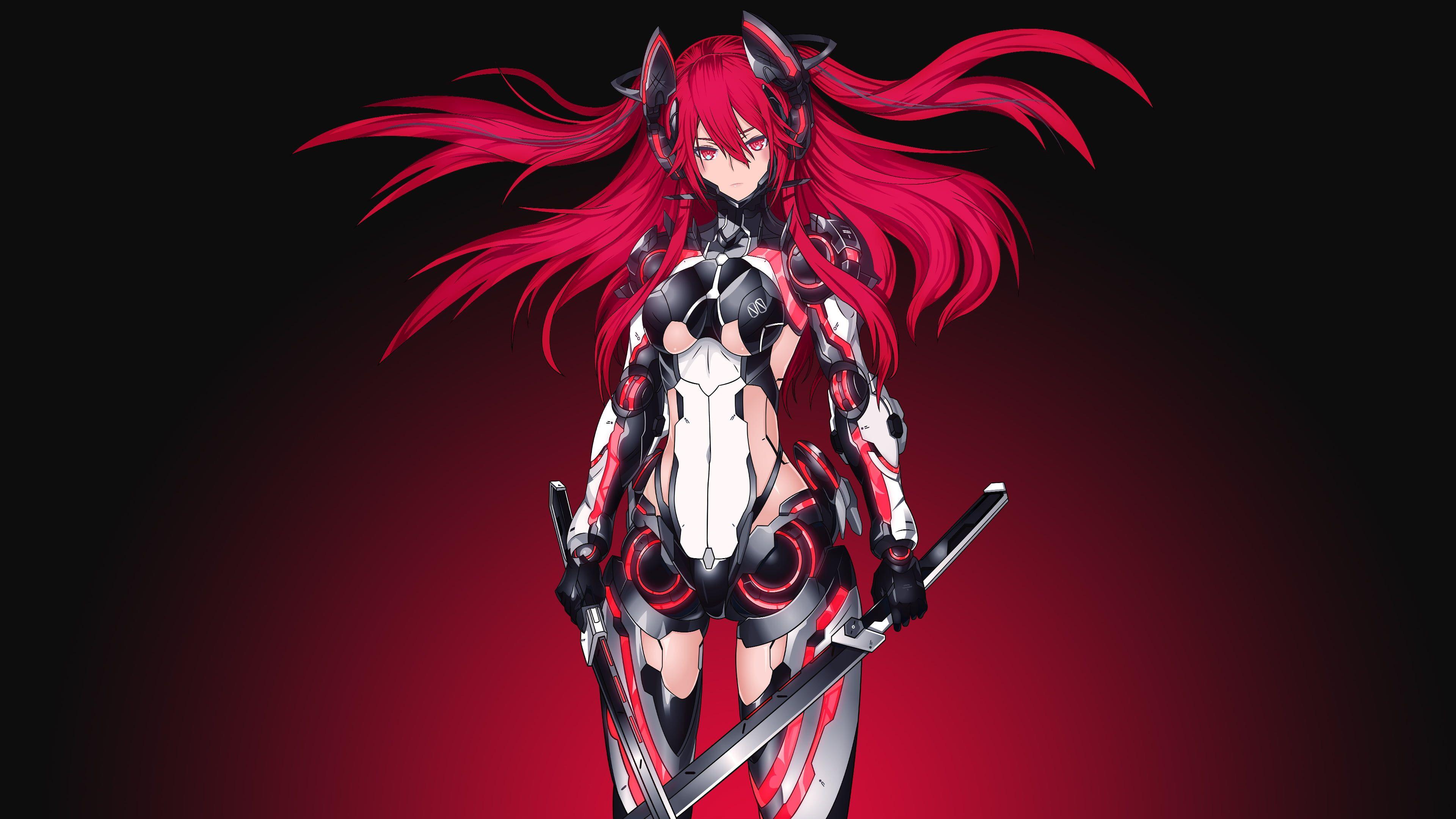 Red hair anime girl