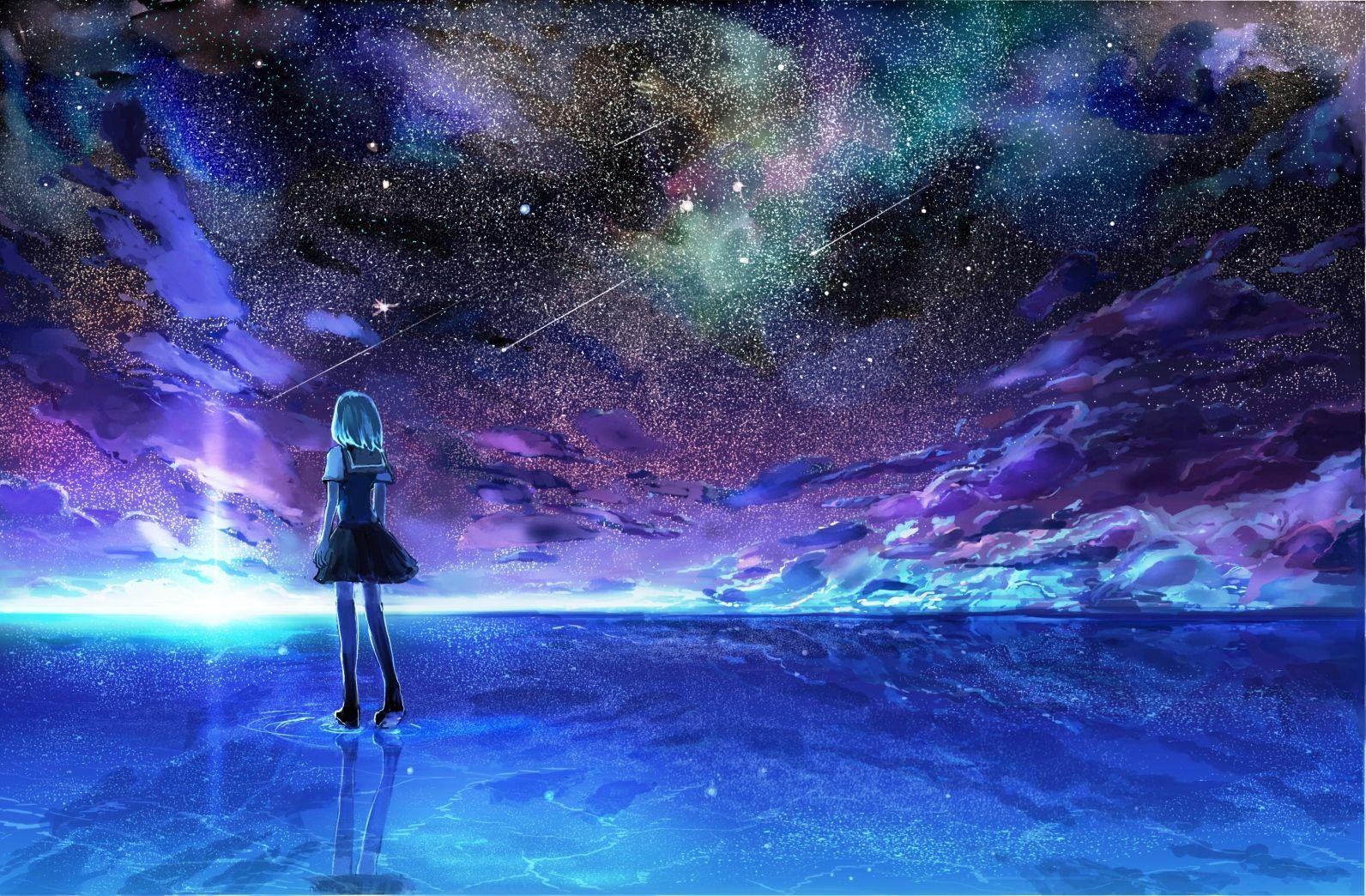 Purple Anime Night Sky Wallpapers Wallpaper Cave