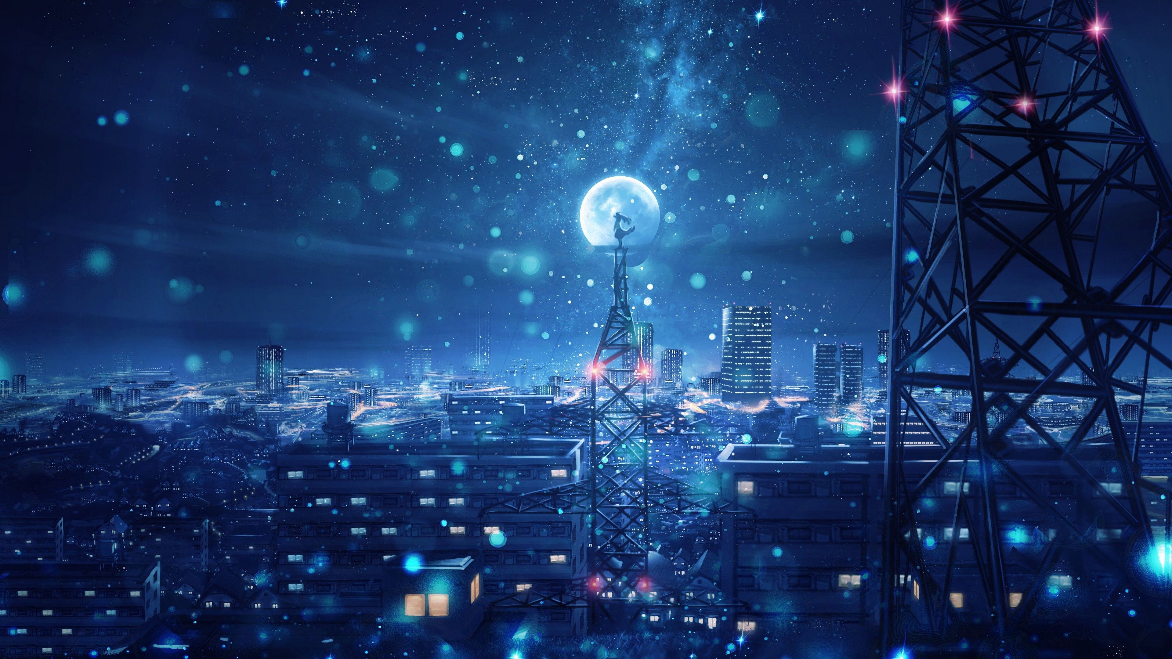 Wallpapers 4k Blue Night Big Moon Anime Scenery 4k