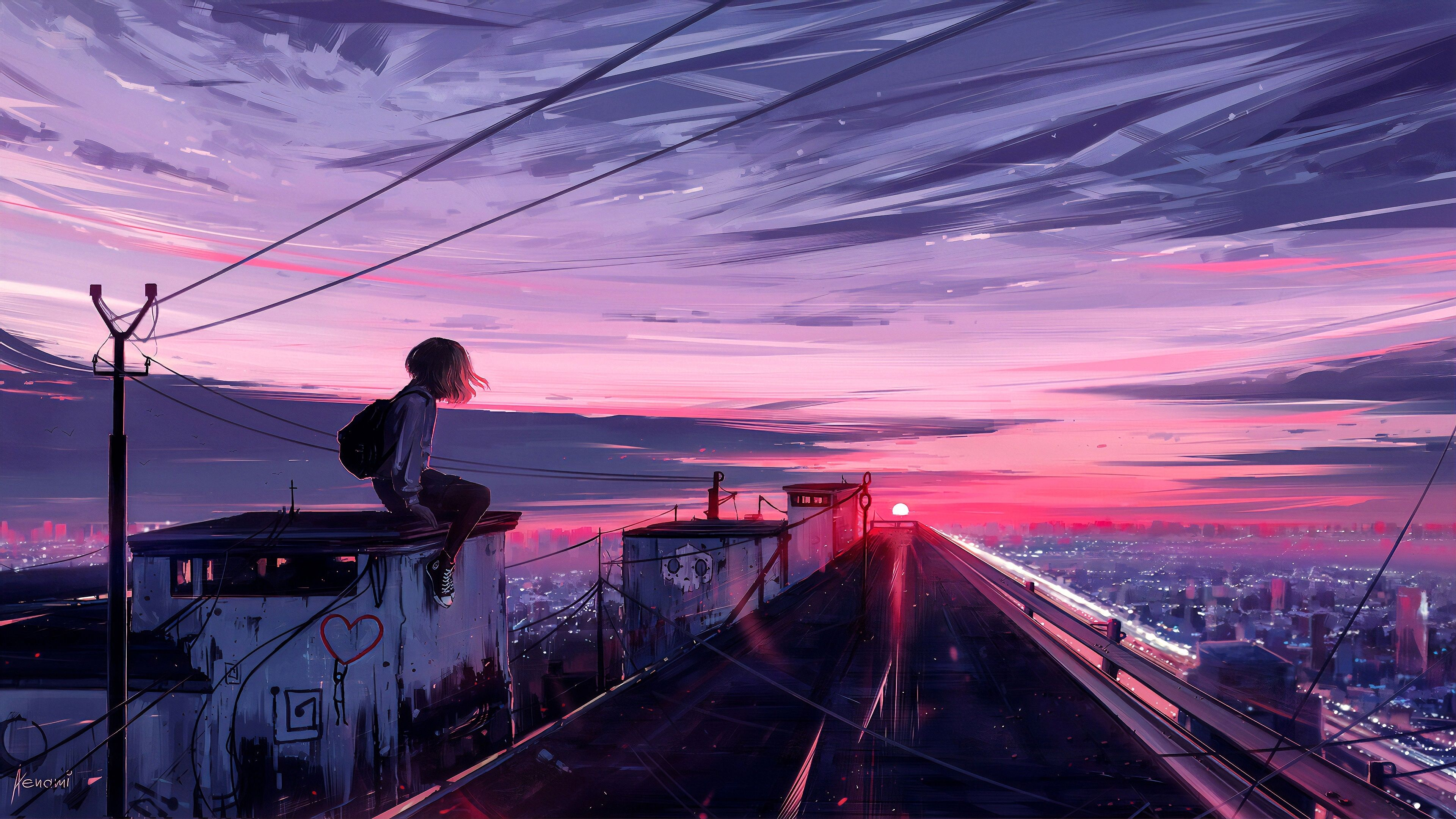 Purple Sunset Anime Wallpapers Wallpaper Cave