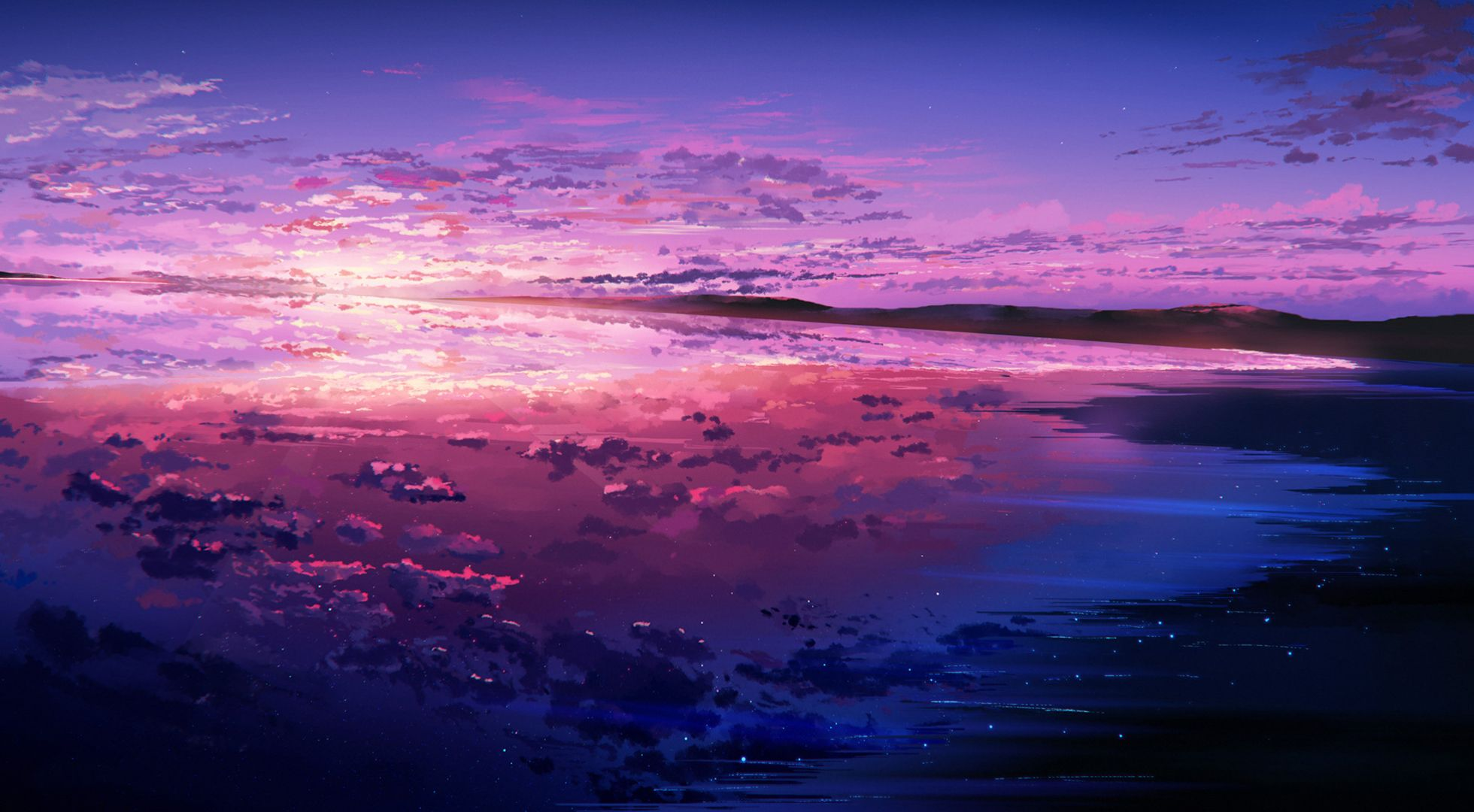 Purple Sunset Anime Wallpapers - Wallpaper Cave