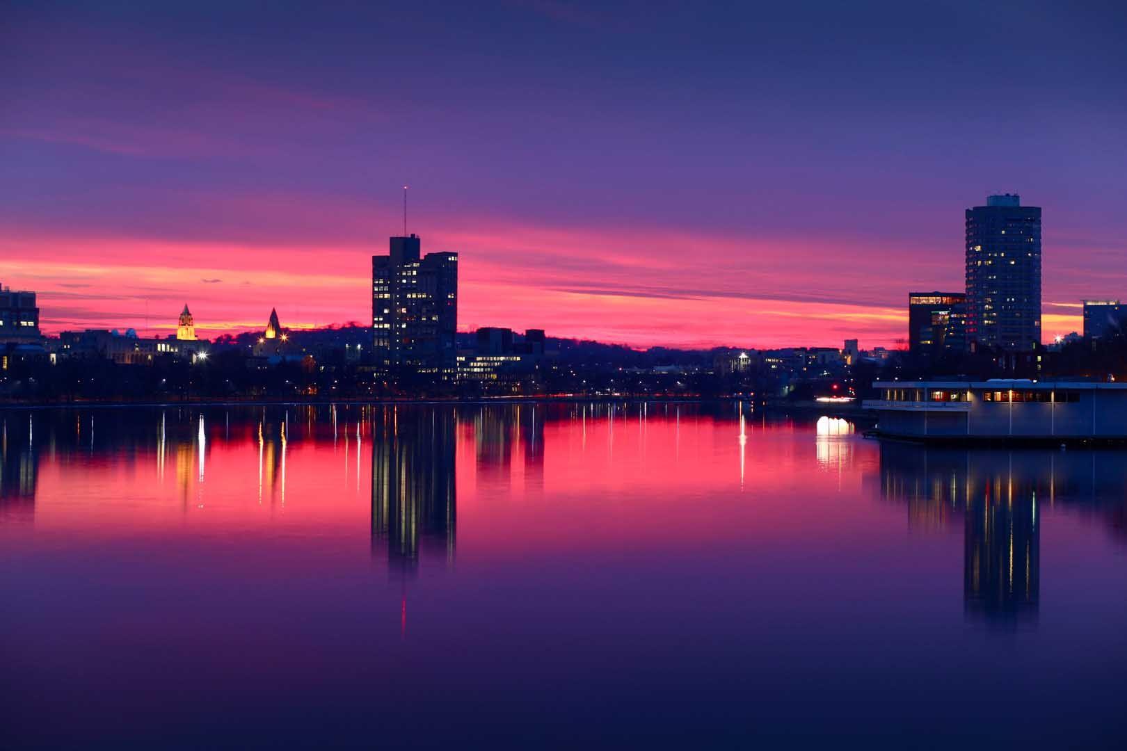 Картинки розовый вечер в городе