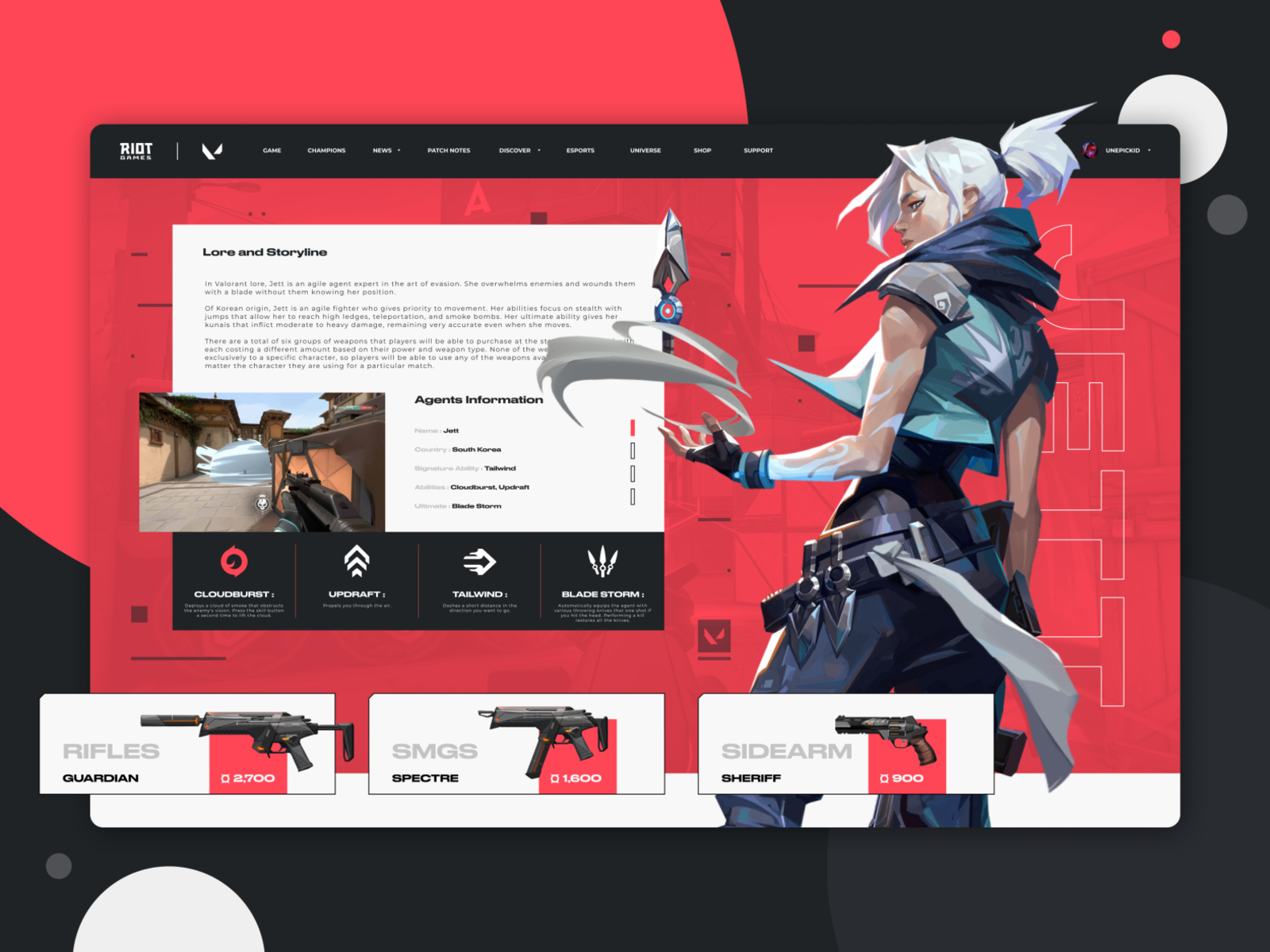 Valorant website concept design