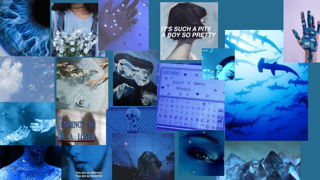 Blue Aesthetic Collage Wallpapers Wallpaper Cave