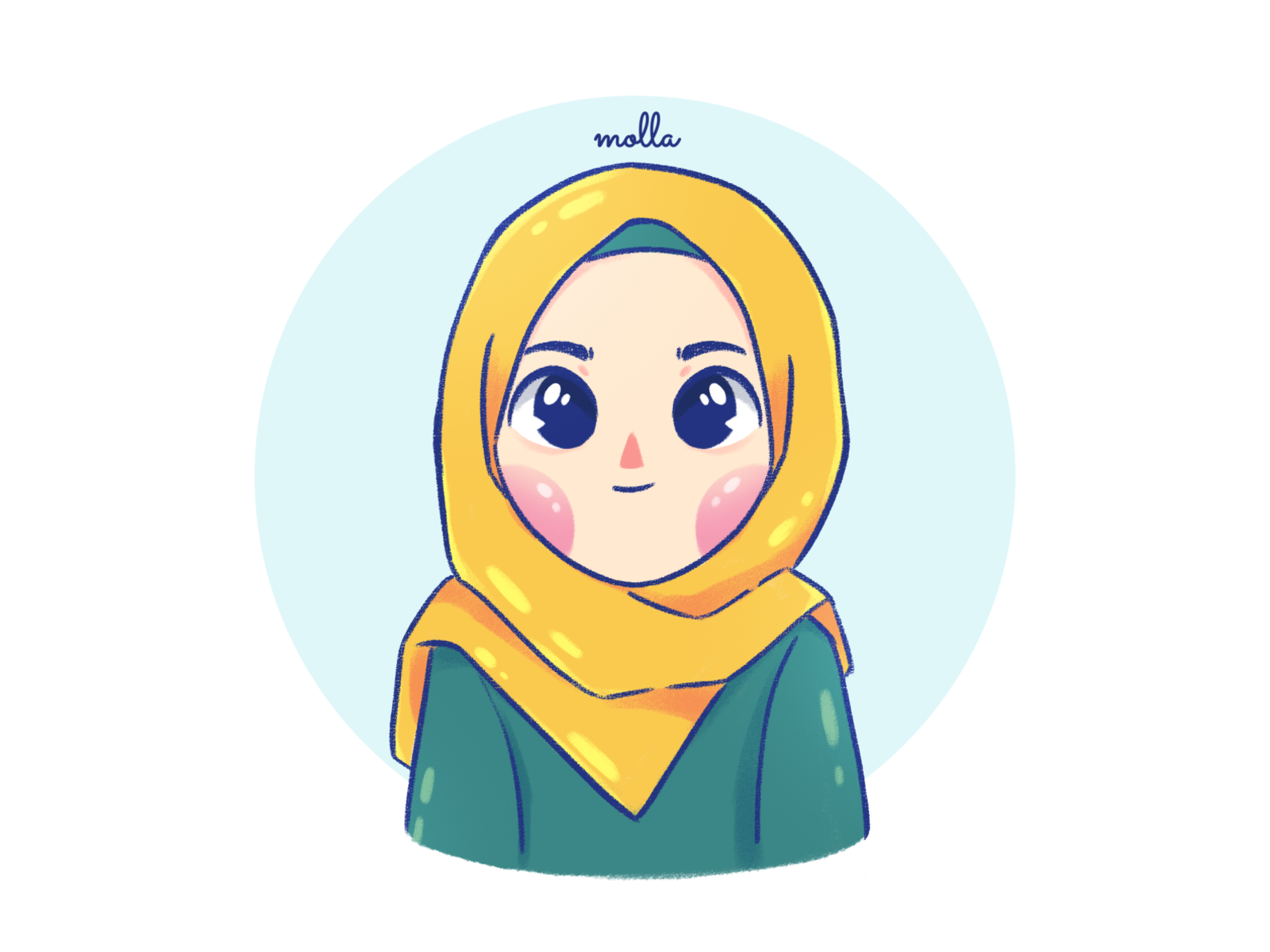 Super Duper Cute Hijab Girl Cartoon Portrait by Angga Indratama on
