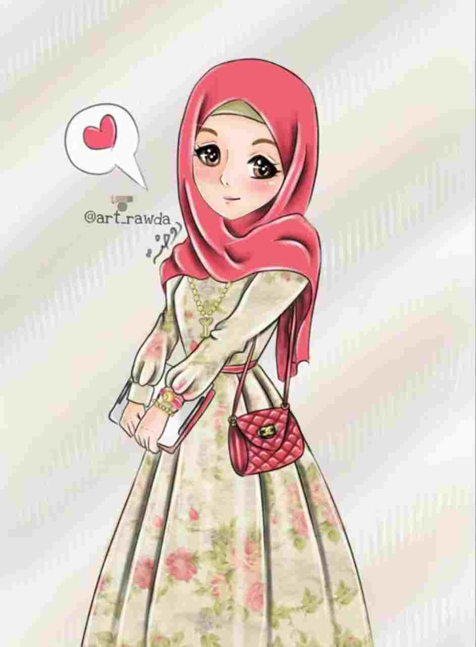 Cute Hijab Girl Drawing