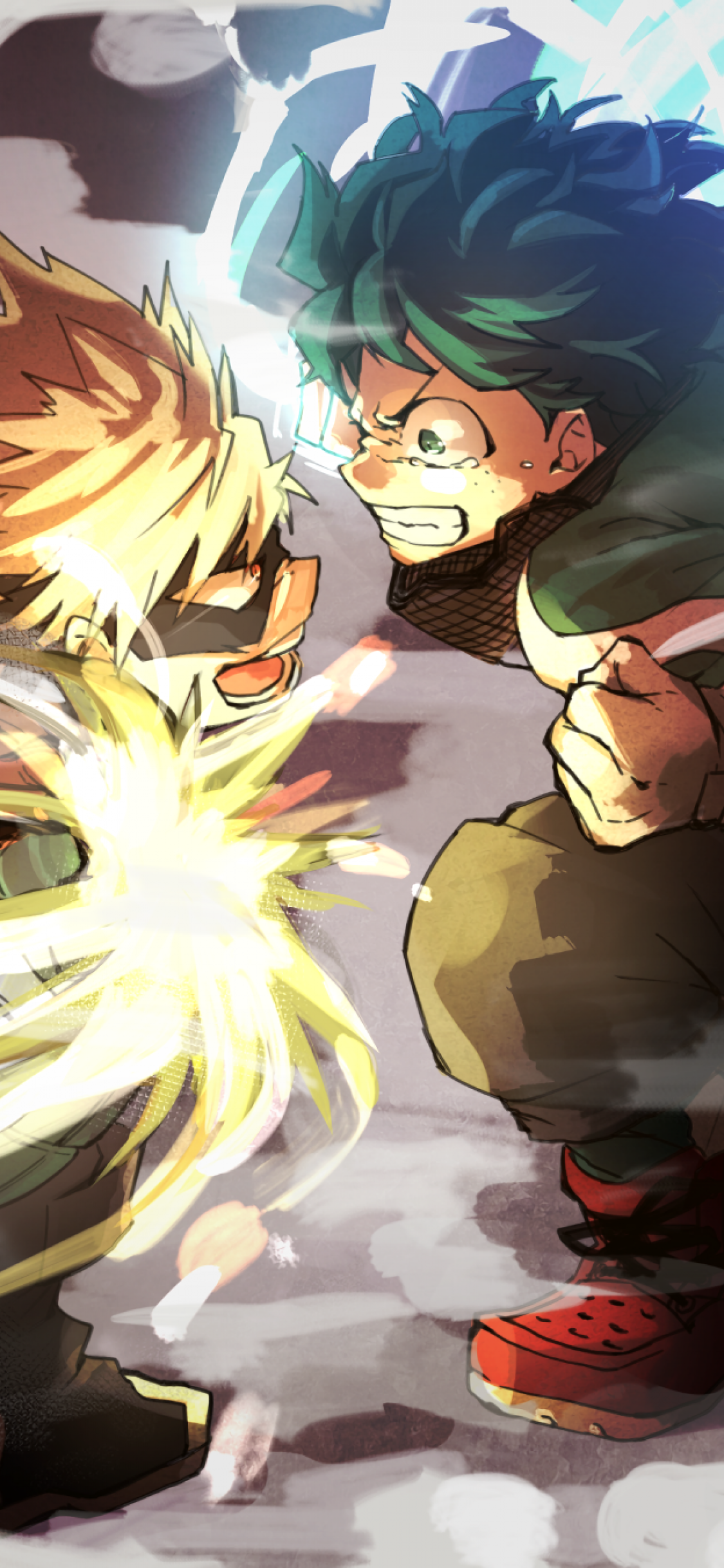 Download 1125x2436 Midoriya Izuku, Bakugou Katsuki, Boku No Hero