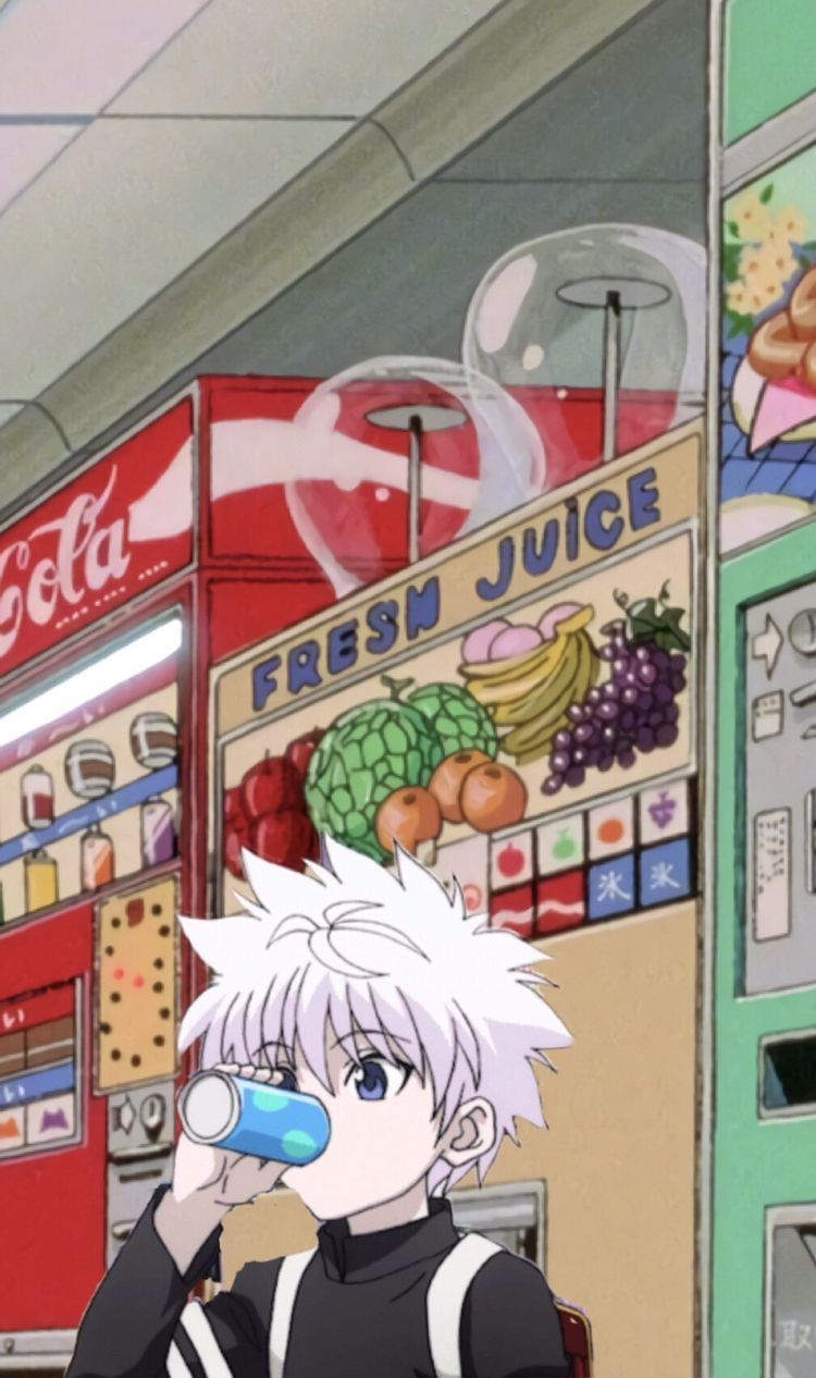 Killua drinking soda