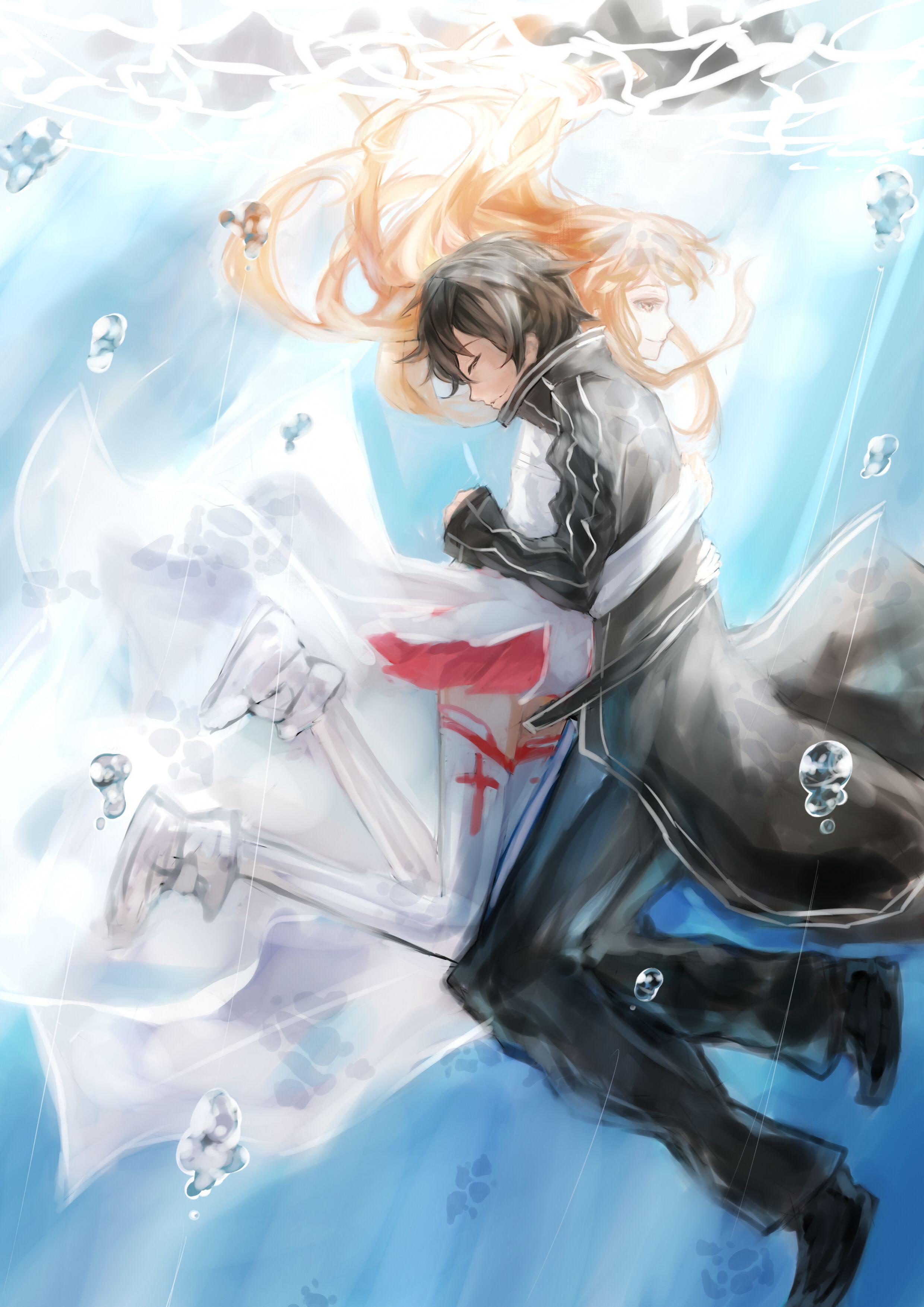 Sword Art Online Kirito Kiss Asuna Phone Wallpapers ...