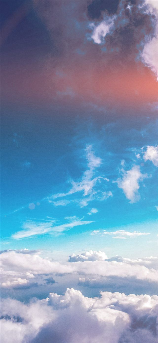 Sky Cloud Fly Blue Summer Sunny Flare iPhone X Wallpapers Free