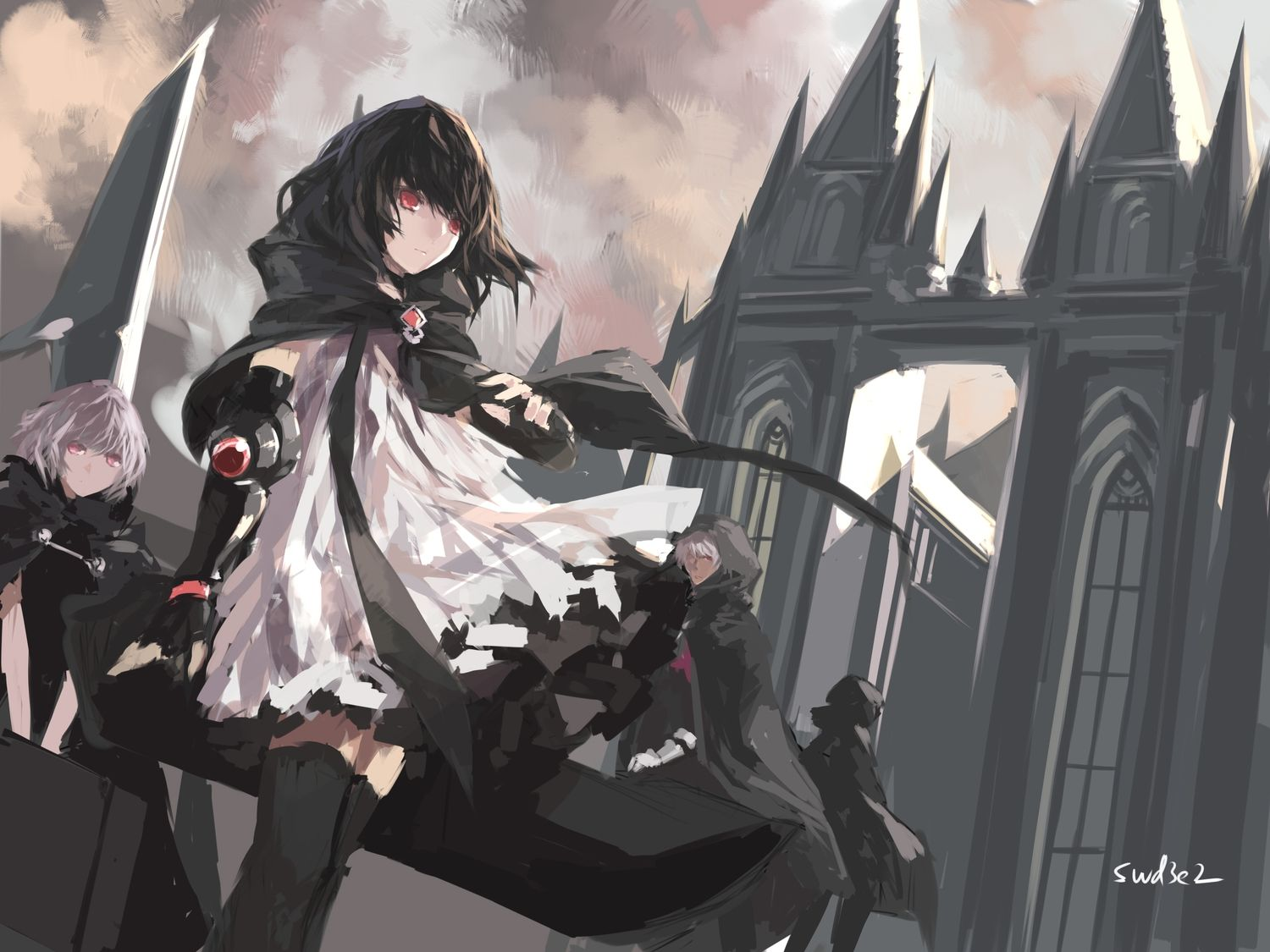 black hair building cape dress elbow gloves gloves gray hair