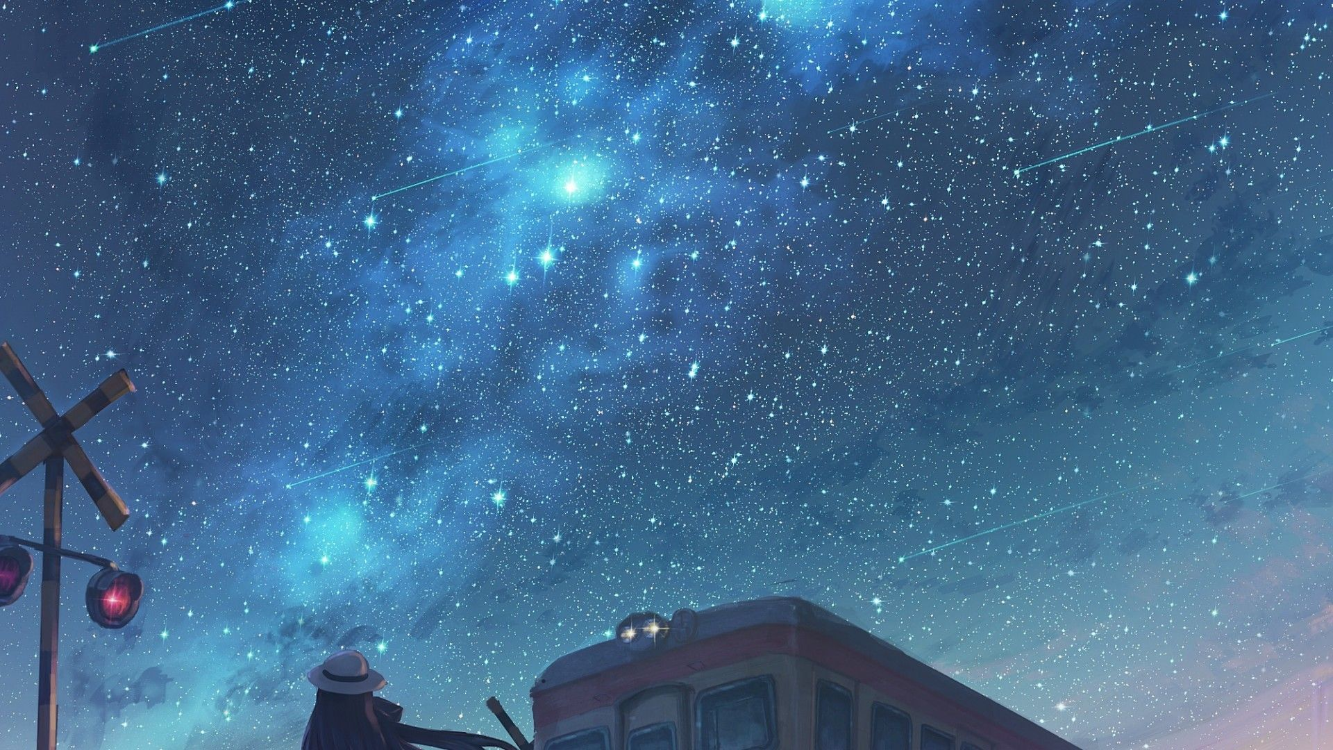 1920x1080 Anime Night Sky Wallpapers Wallpaper Cave