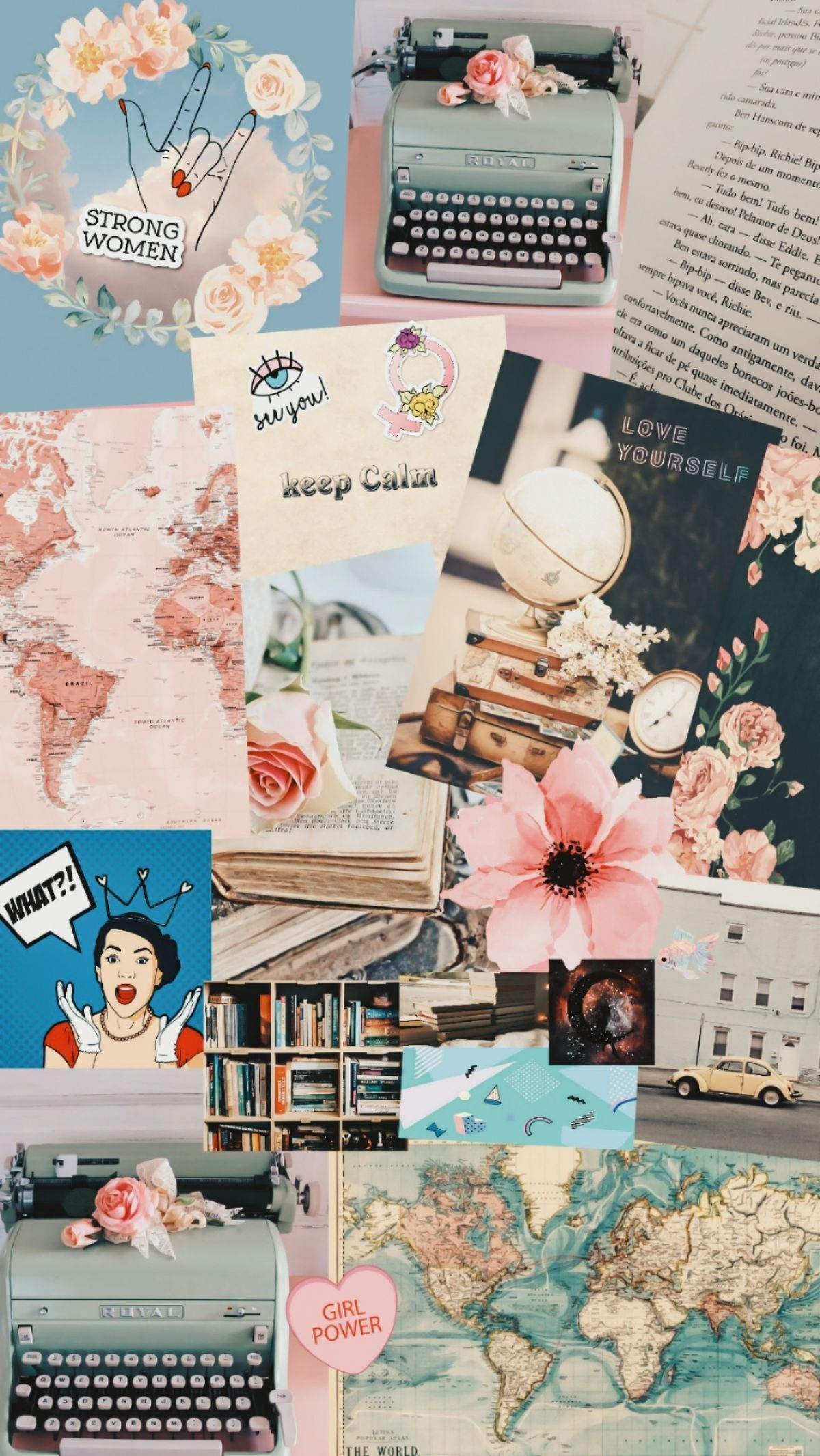 Typewriter girly vintage collage wallpapers