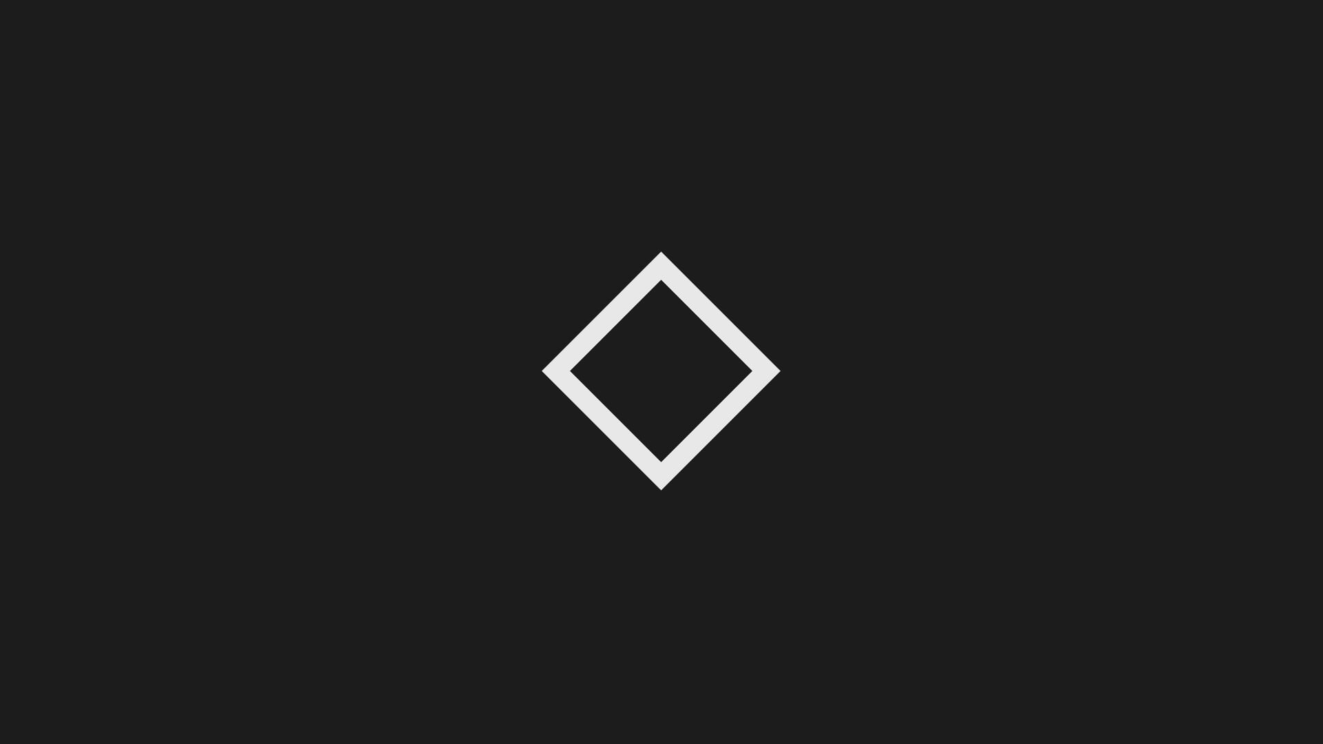 Square white logo, black, lozenge, abstract, minimalism HD