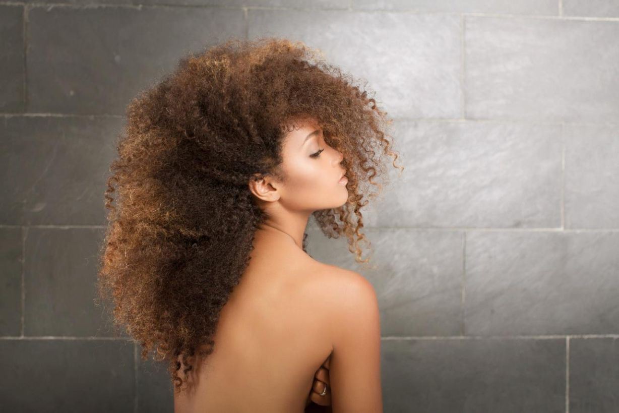 Skinny Topless Woman With Cream Background And Long Dark Curly Hair By Jess Craven
