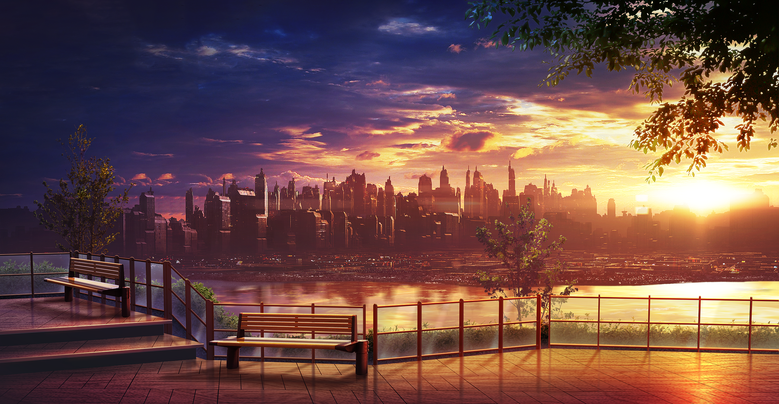Anime City Sunset Wallpapers - Wallpaper Cave