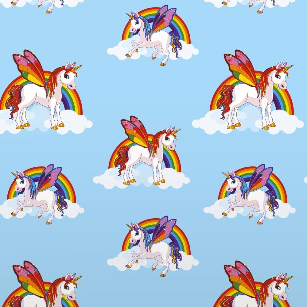 Rainbow Unicorn Pattern Childrens Wallpapers Magic Cloud Horse