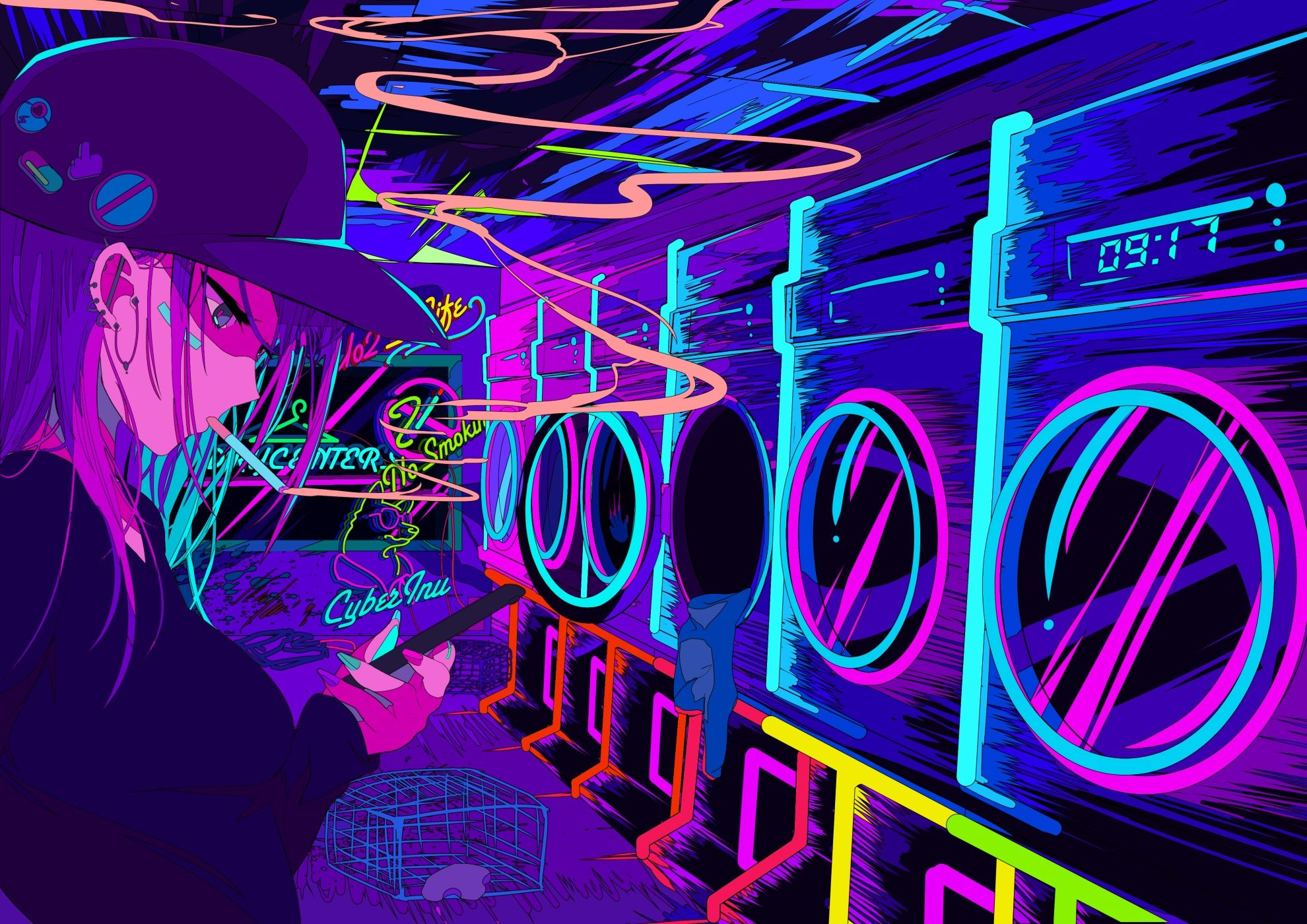 Neon Effect Girl Anime Wallpapers - Wallpaper Cave