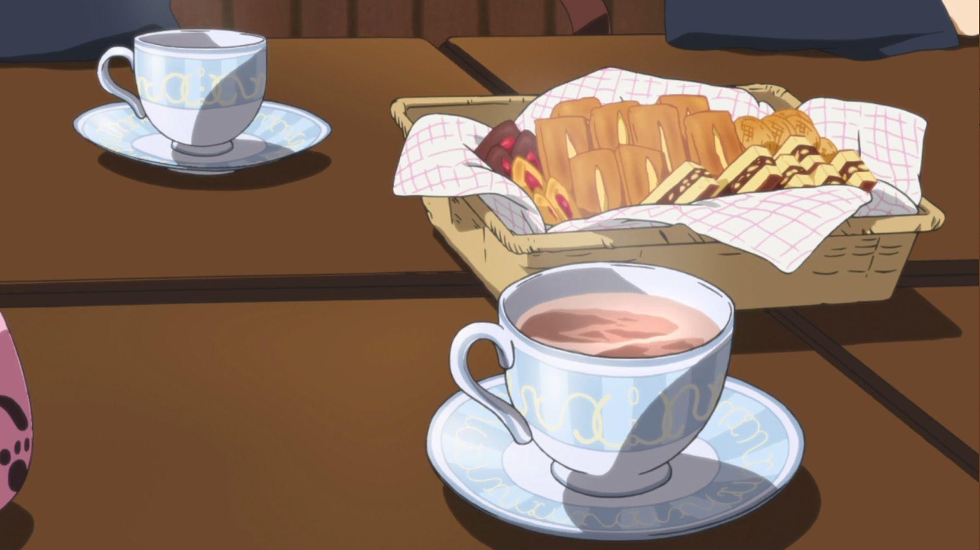 Картинки аниме пьет чай