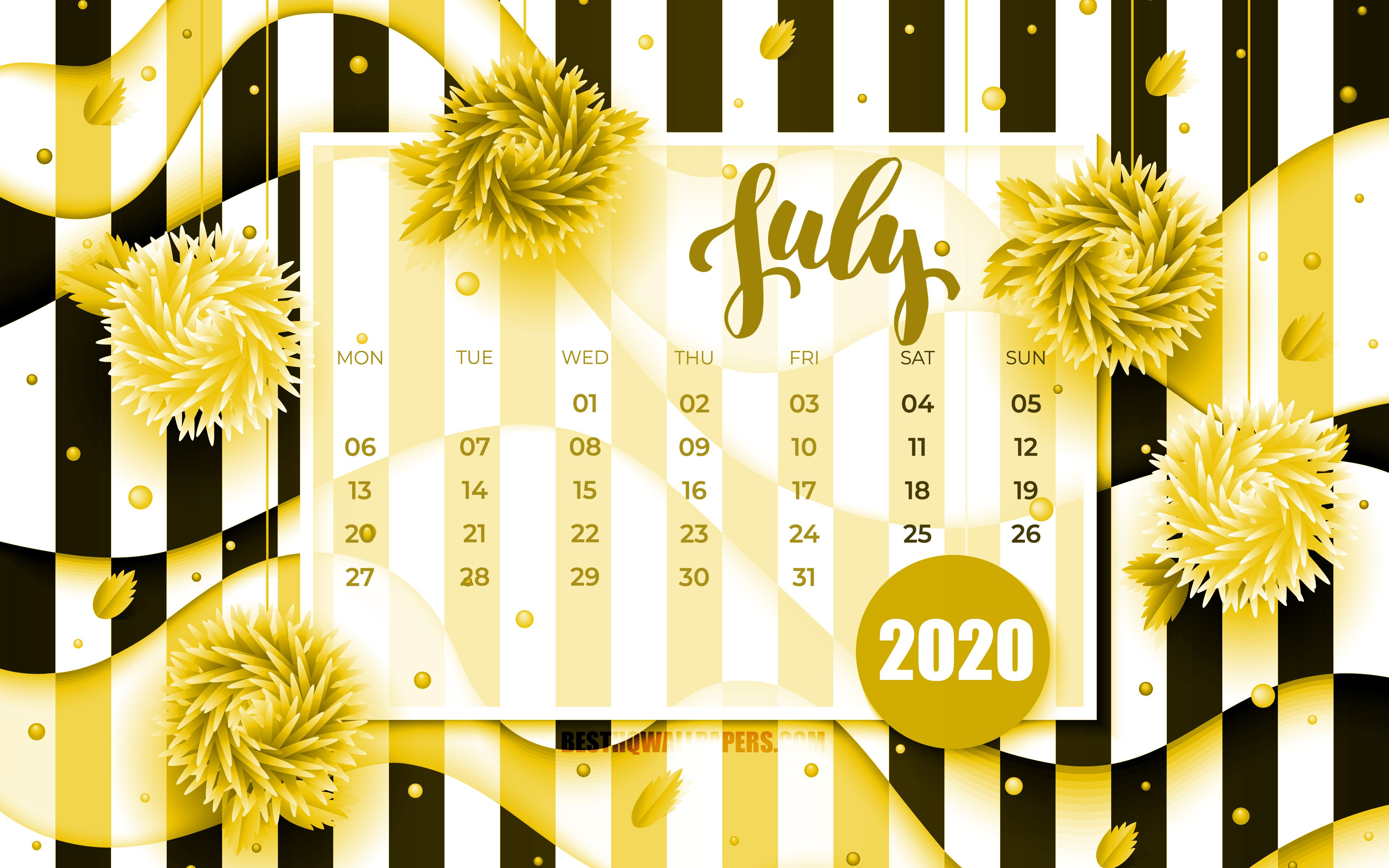 Download wallpapers July 2020 Calendar, 4k, yellow 3D flowers