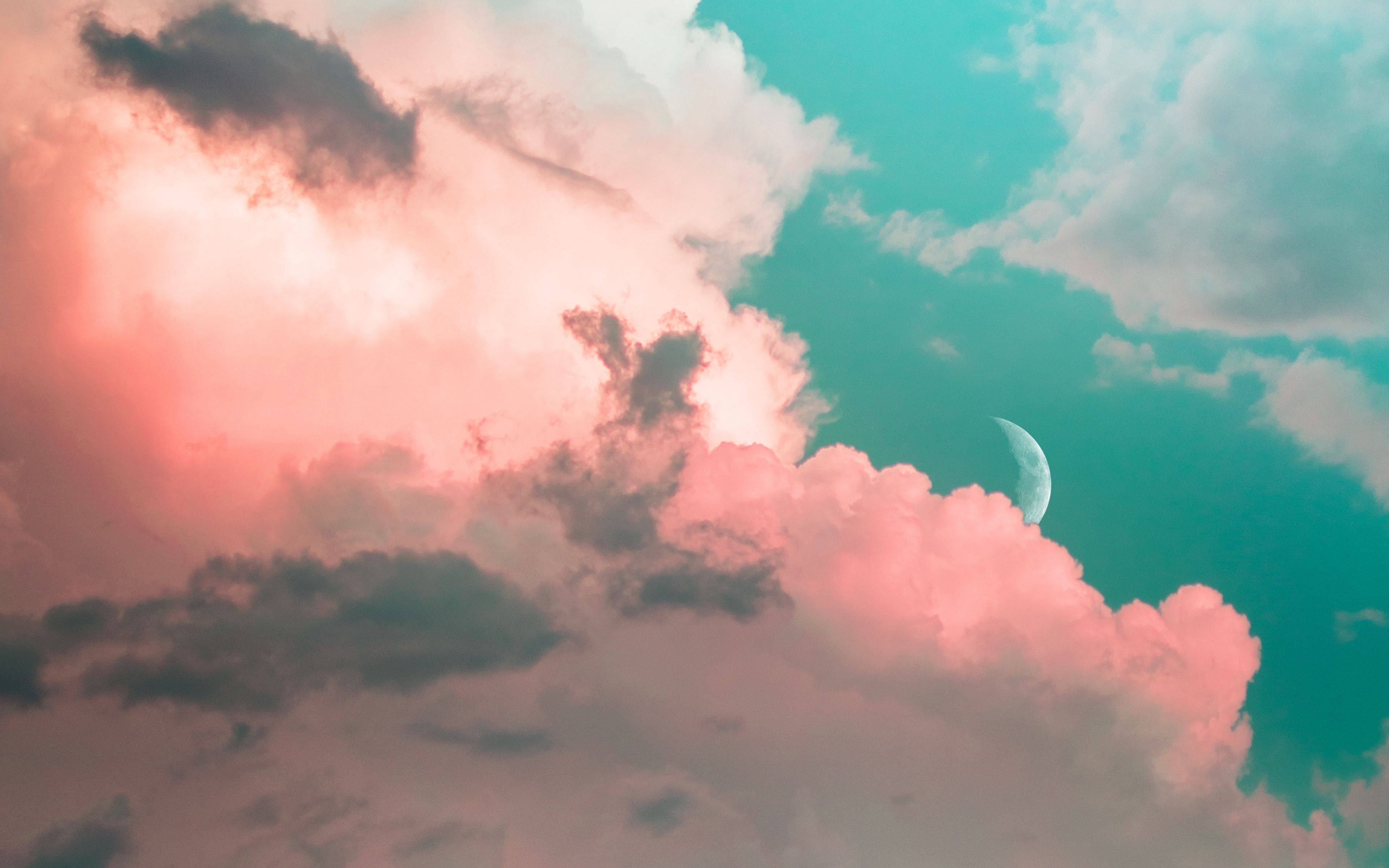 Download wallpapers 3840x2400 clouds, sky, moon, porous, light 4k