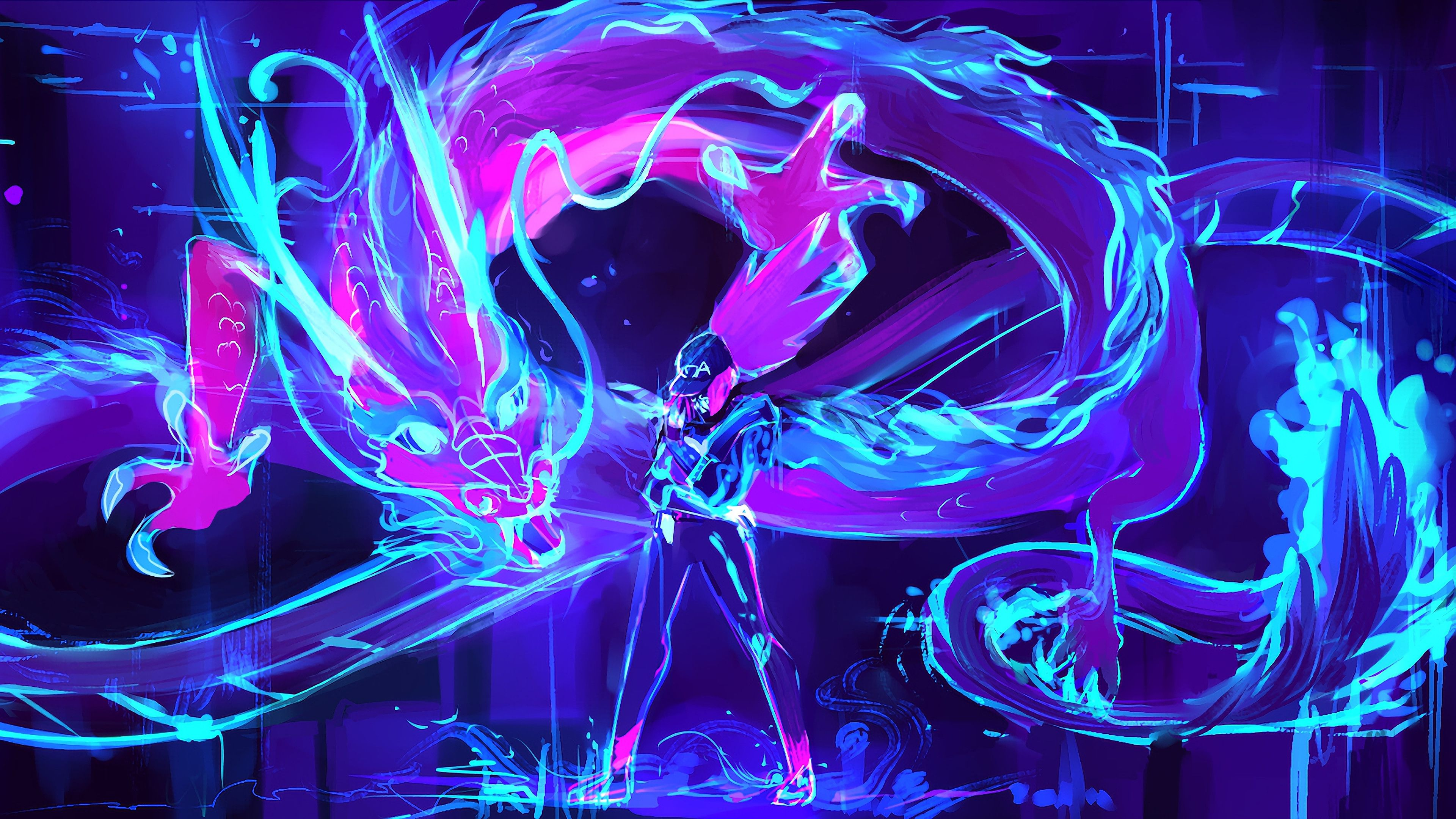 Blue Neon Dragon Wallpapers - Wallpaper Cave