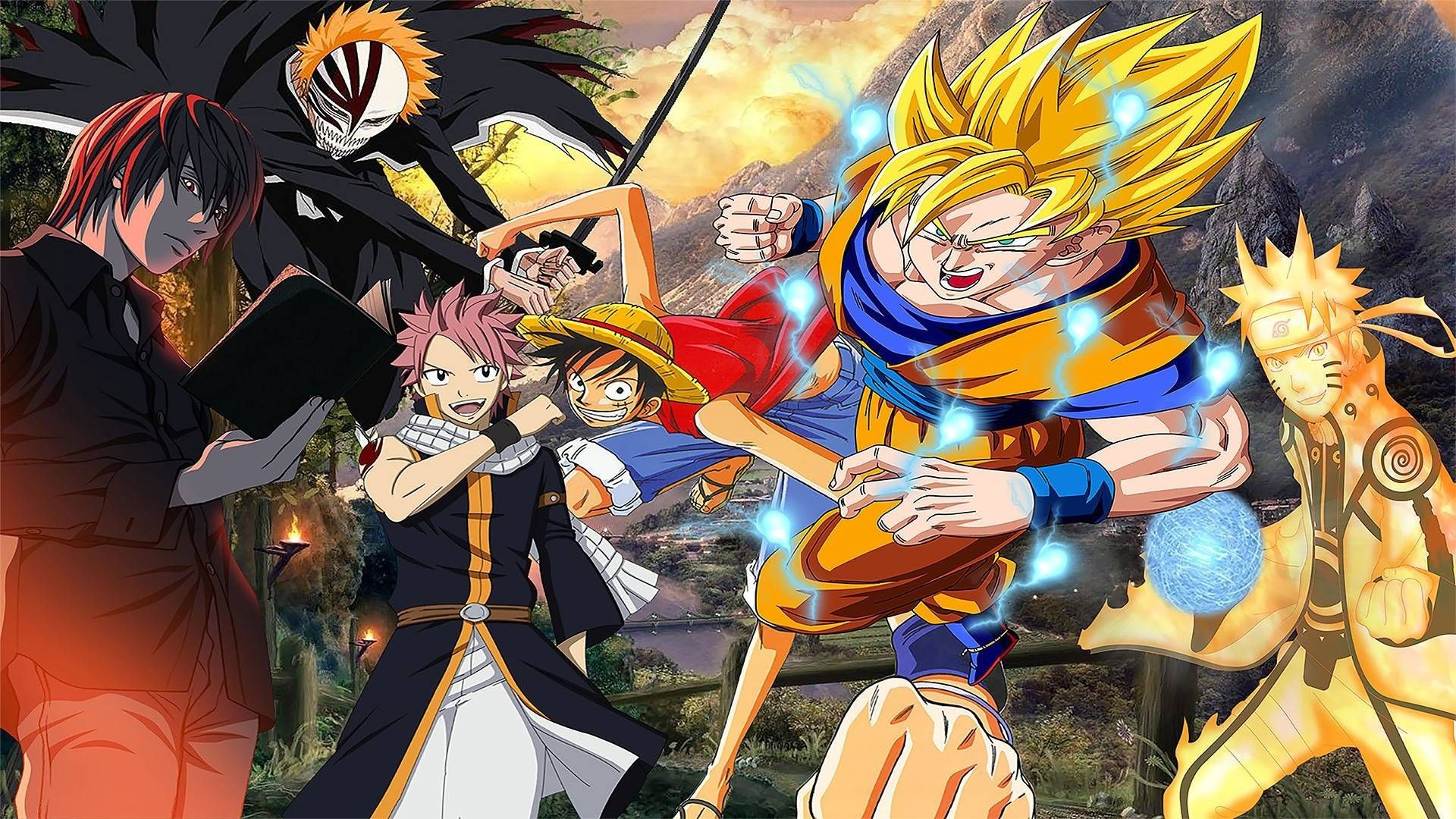Anime Collage DBZ One Piece Naruto Wallpapers - Wallpaper Cave