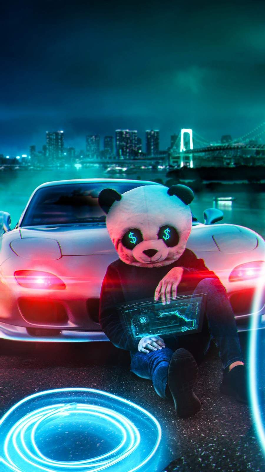 Neon Pandas Wallpapers Wallpaper Cave