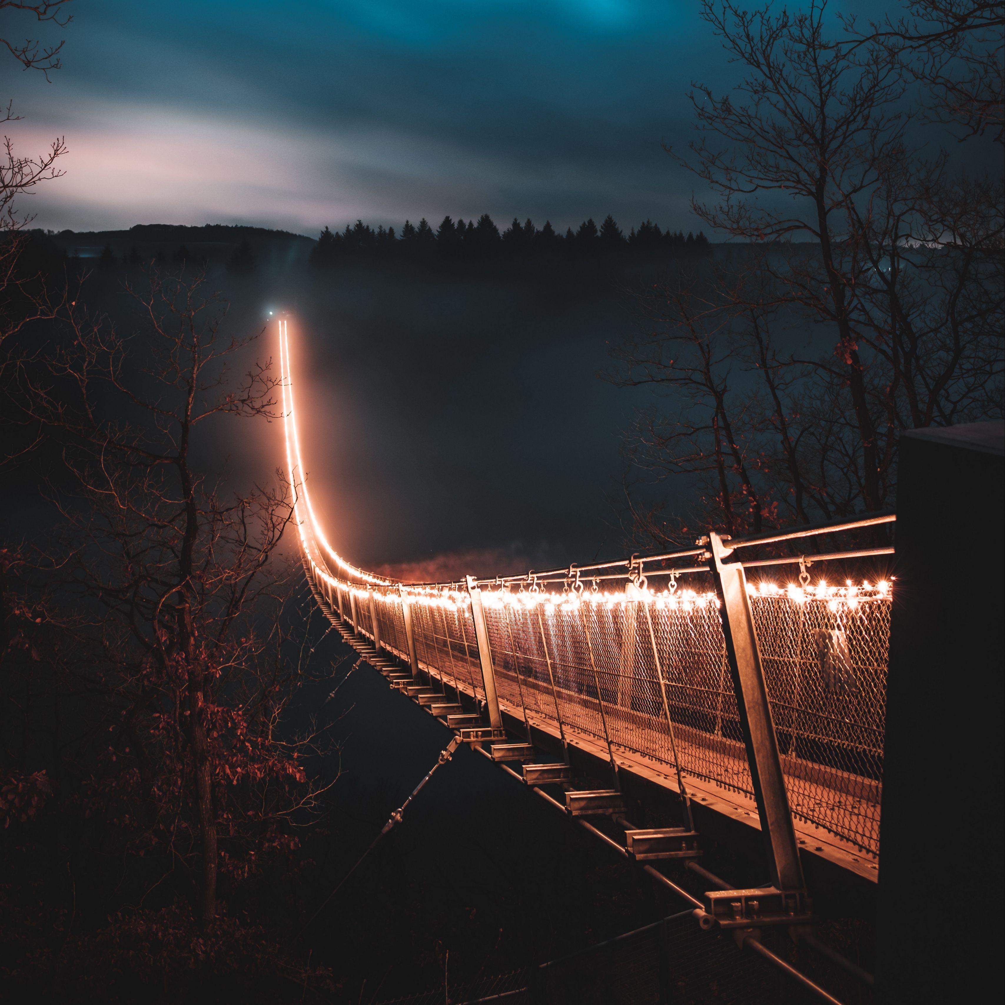 Bridge Night Fog Trees Wallpapers Wallpaper Cave