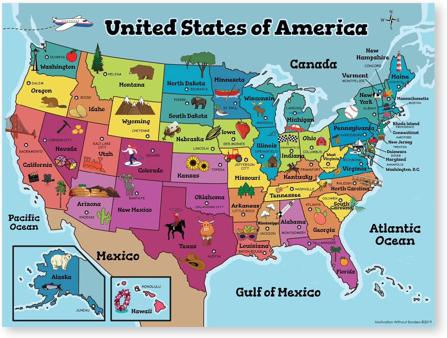 map of america for kids
