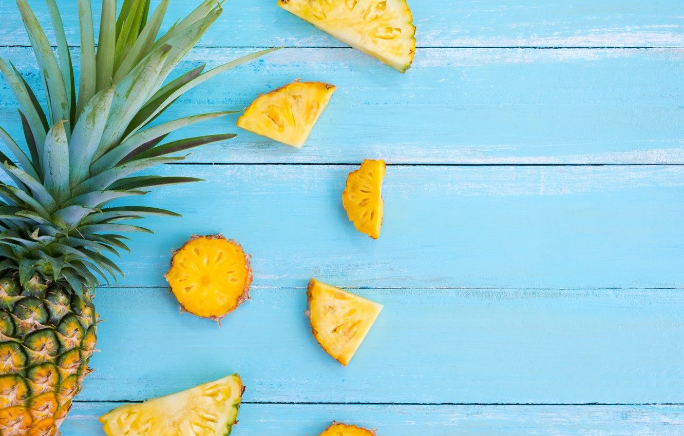 Wallpapers fruit, summer, pineapple, wood, slices, fruit, pineapple