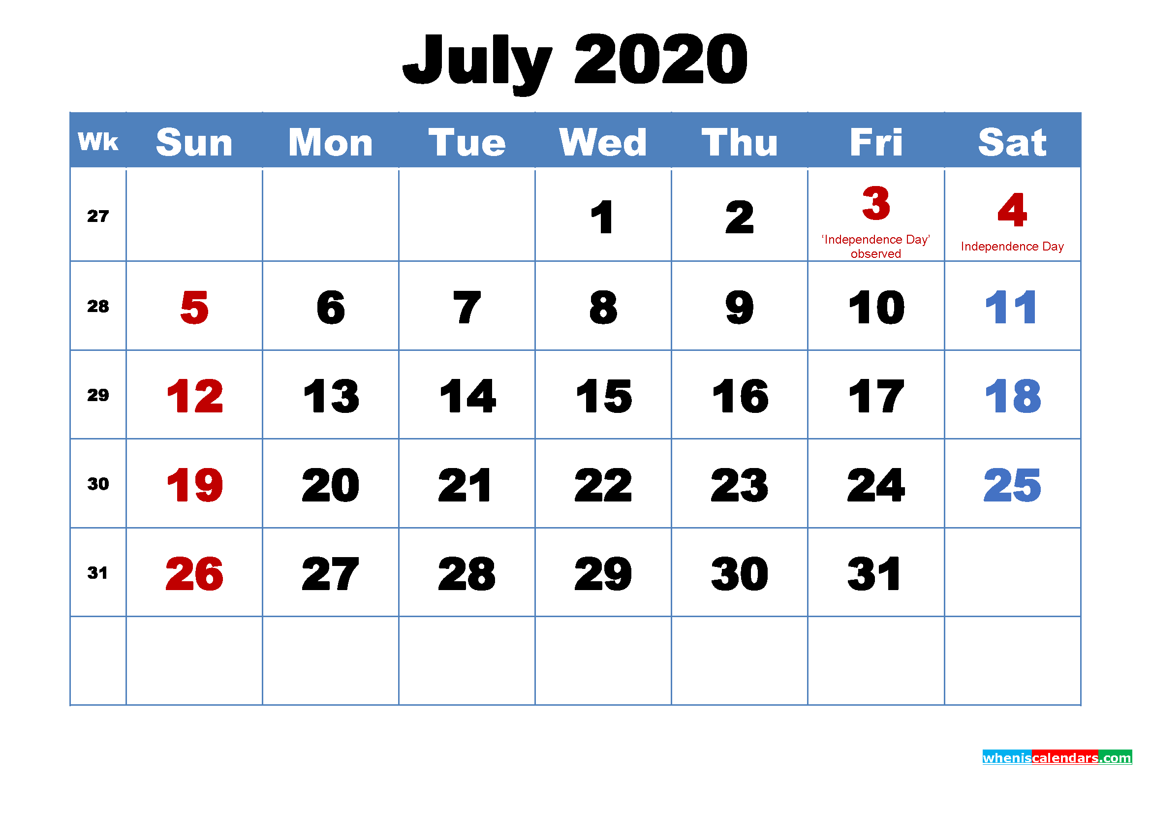 July 2020 Calendar Wallpapers Free Download