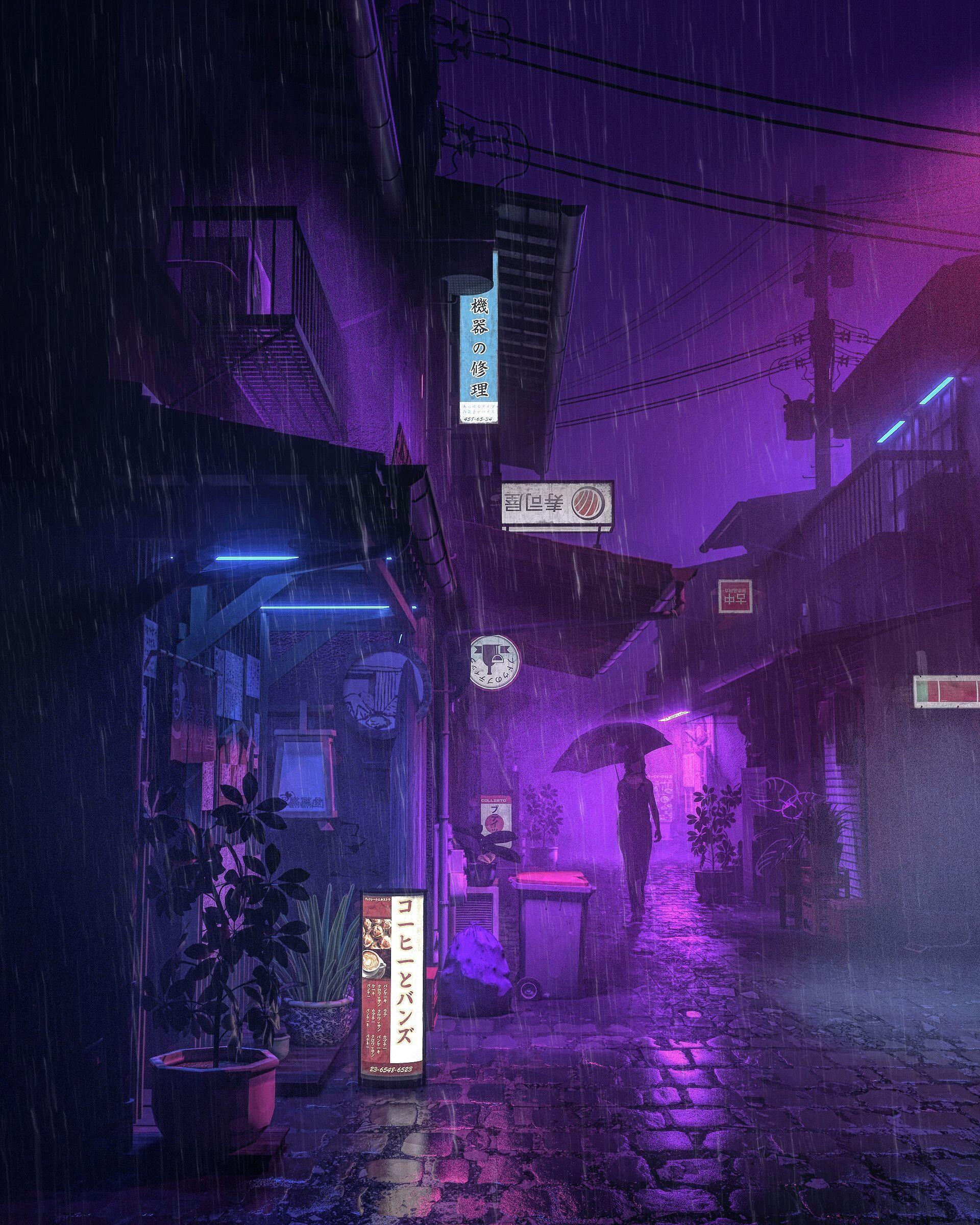Anime City Purple Wallpapers