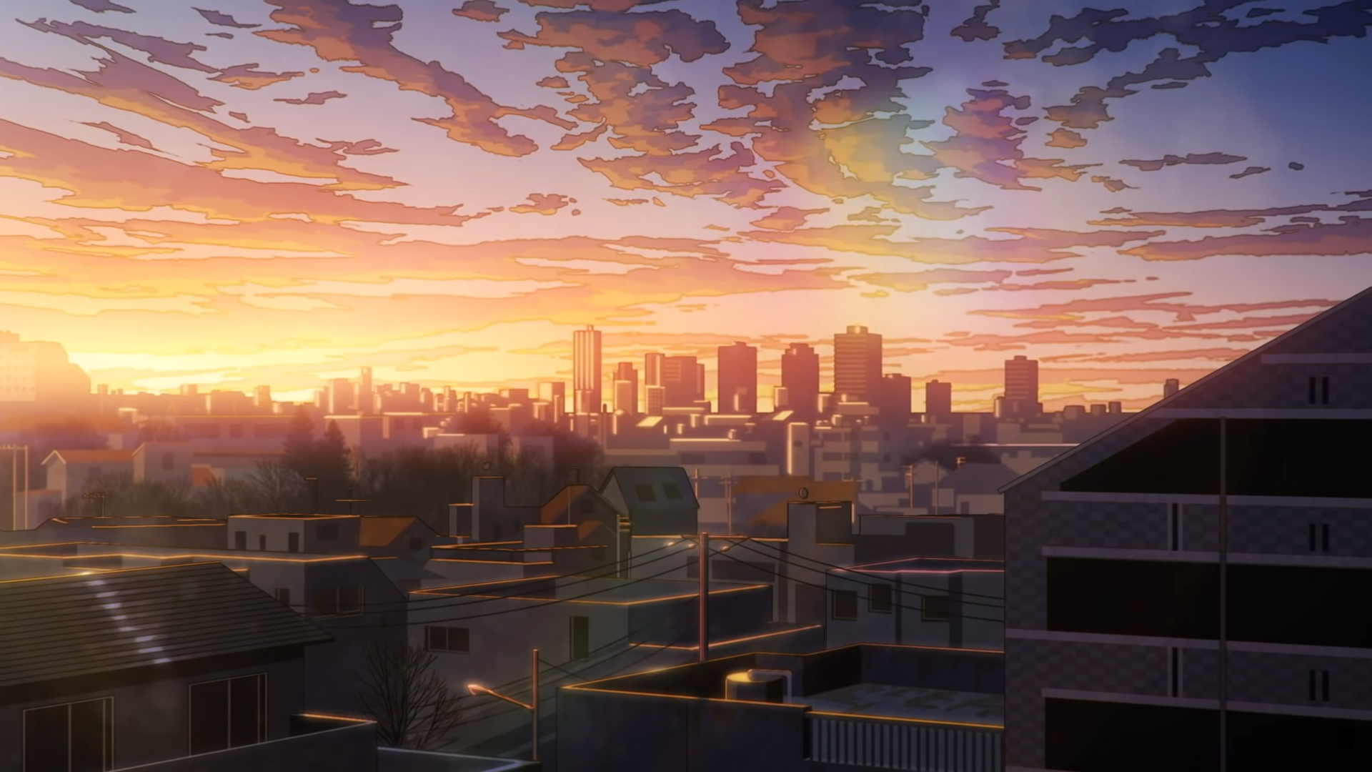 City Anime Sunset Tower Wallpapers - Wallpaper Cave