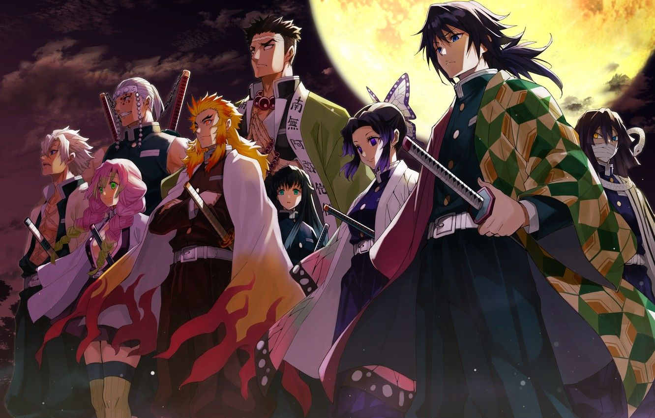 Wallpapers the moon, characters, The Blade Cleaves Demons, Demon Slayer Kimetsu No Yaiba image for desktop, section сёнэн