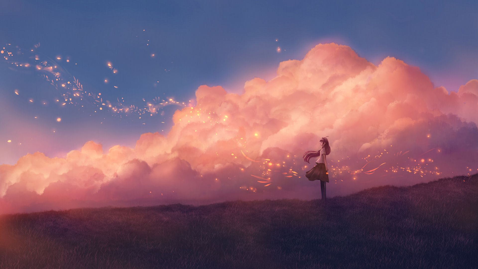 Anime Pink Sky 1920x1080 Wallpapers - Wallpaper Cave