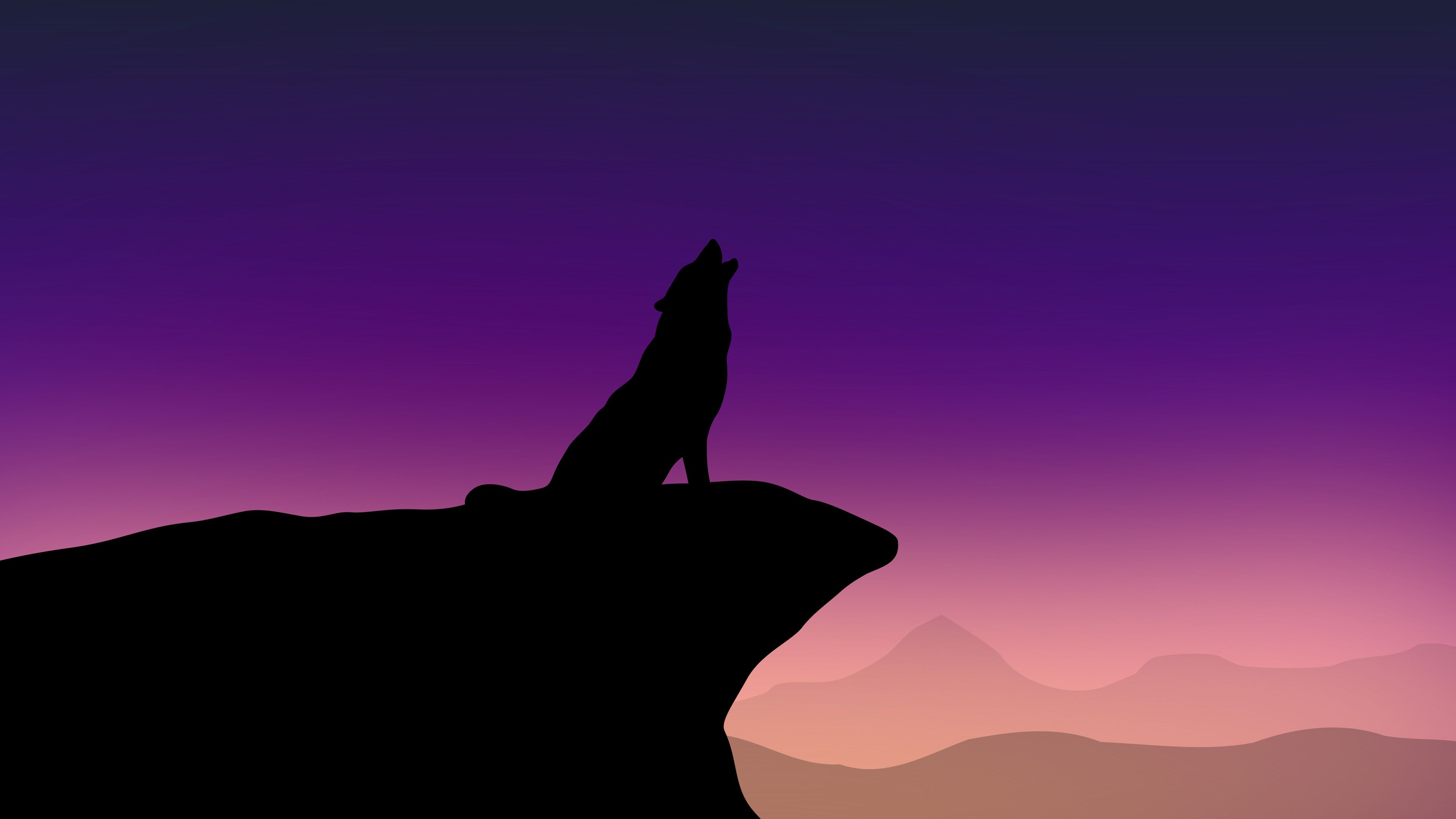 2160x3840 Howling Wolf Minimalism 4k Sony Xperia X,XZ,Z5 Premium HD 4k Wallpapers, Image, Backgrounds, Photos and Pictures