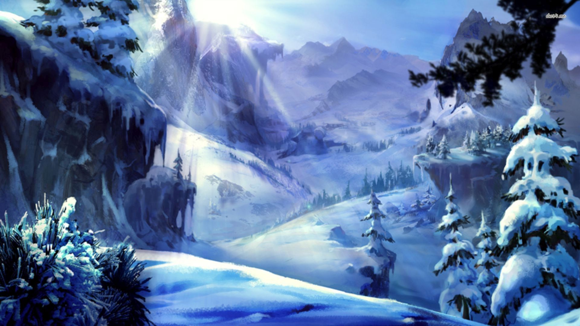 Mountain Snowy Anime Wallpapers Wallpaper Cave