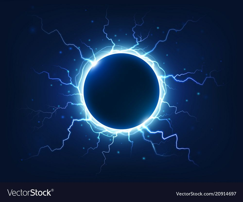 Spectacular thunder and lightning surround blue vector image on