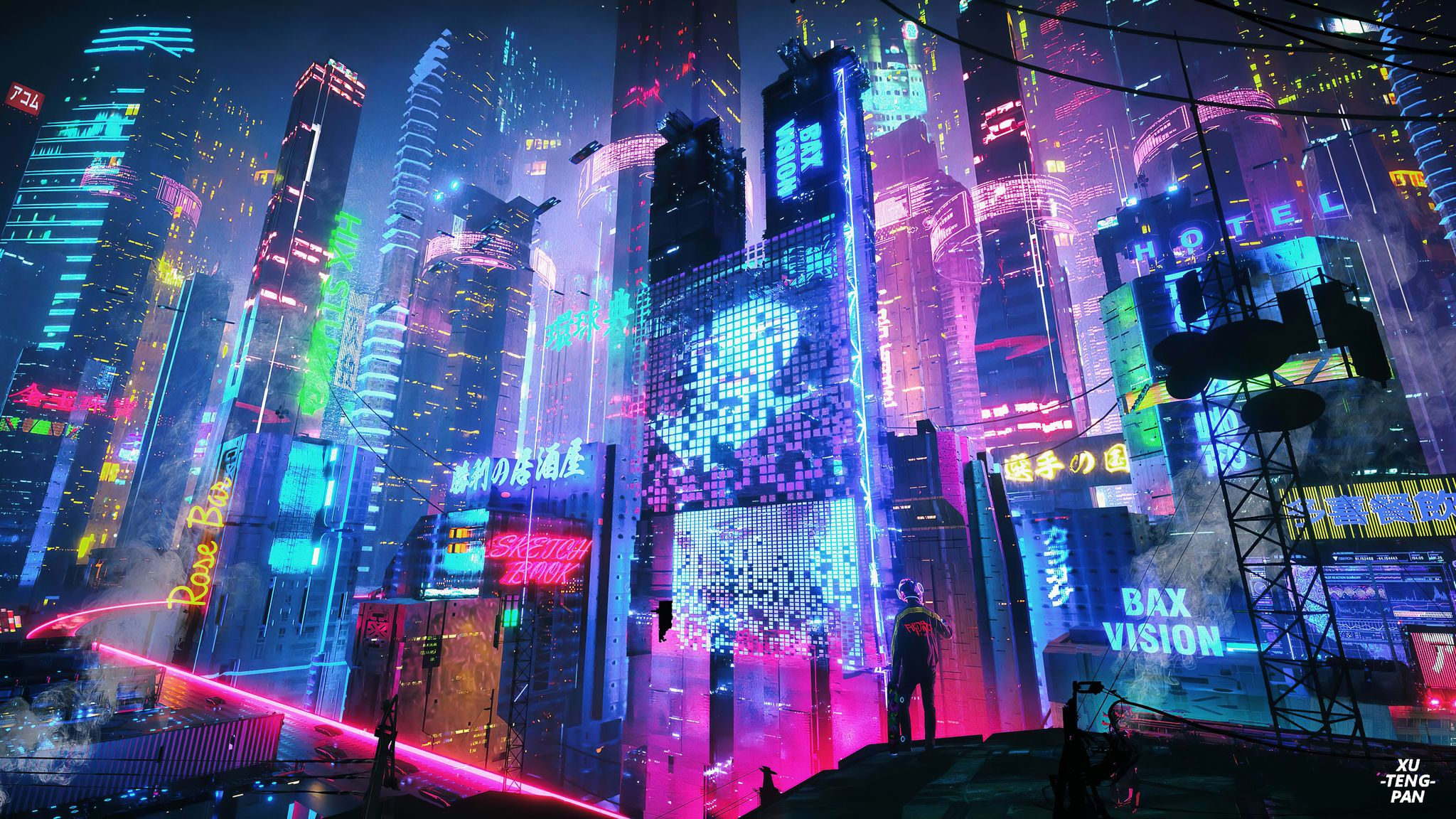 Computer Neon City Wallpapers Wallpaper Cave