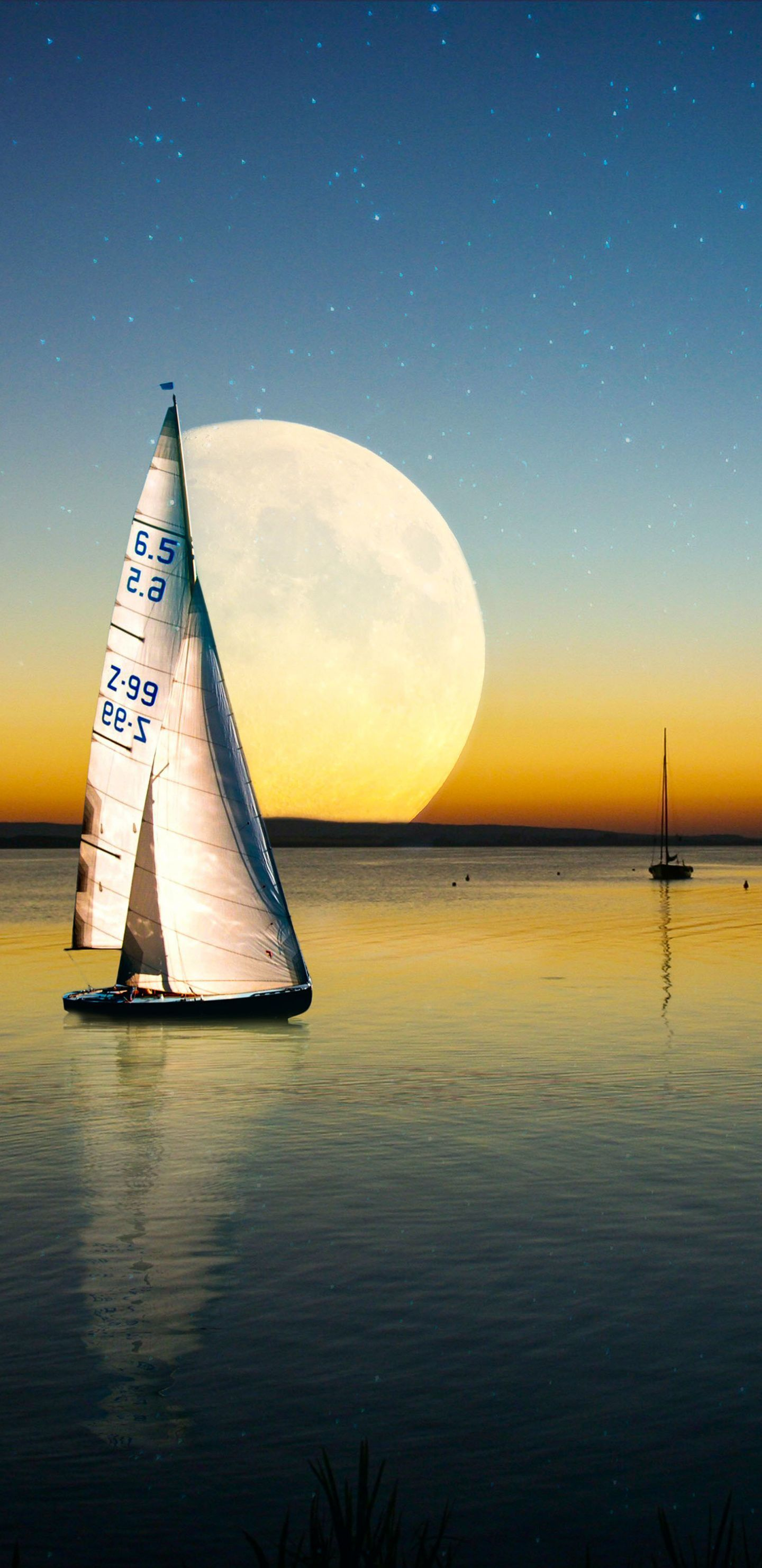 1440x2960 Moon, sailing boat, sea, sunset wallpapers
