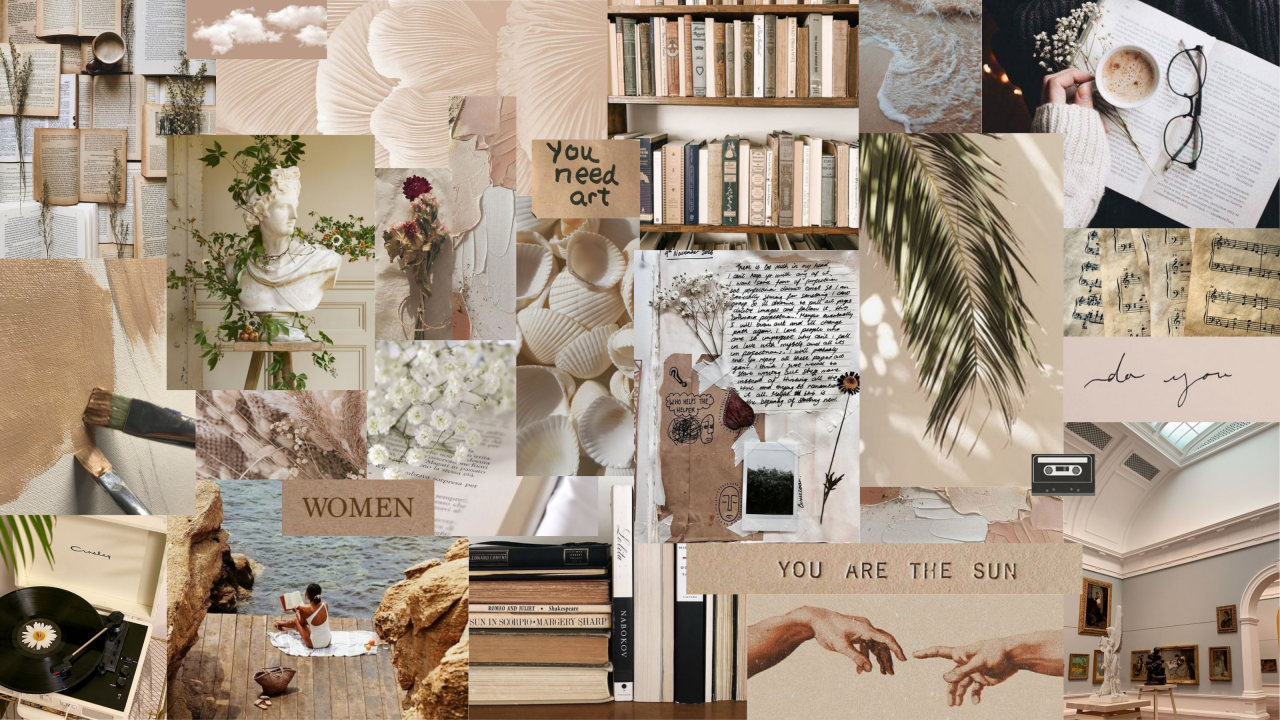 Beige Collage Aesthetic Wallpapers Wallpaper Cave