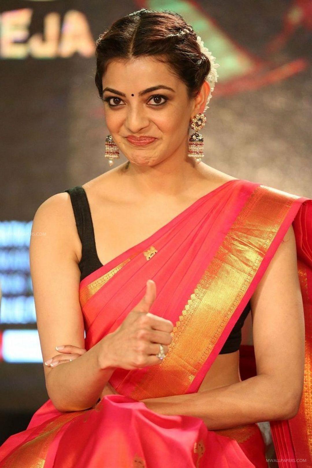✅[1510+] Kajal Agarwals red saree hot HD stills HD Wallpapers