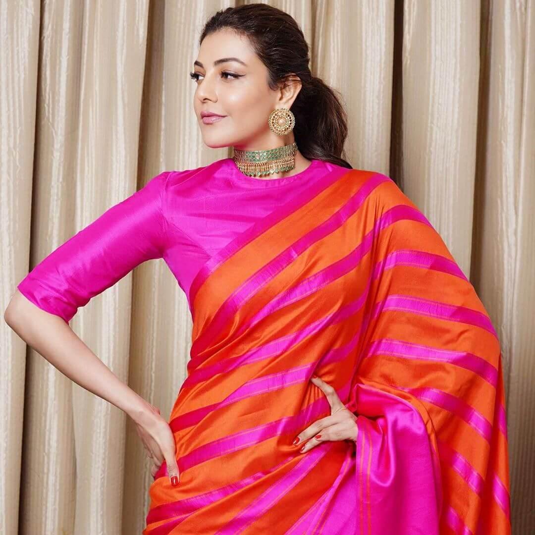 Beautiful Photos of Kajal Agarwal in her Pink and Orange Silk Saree