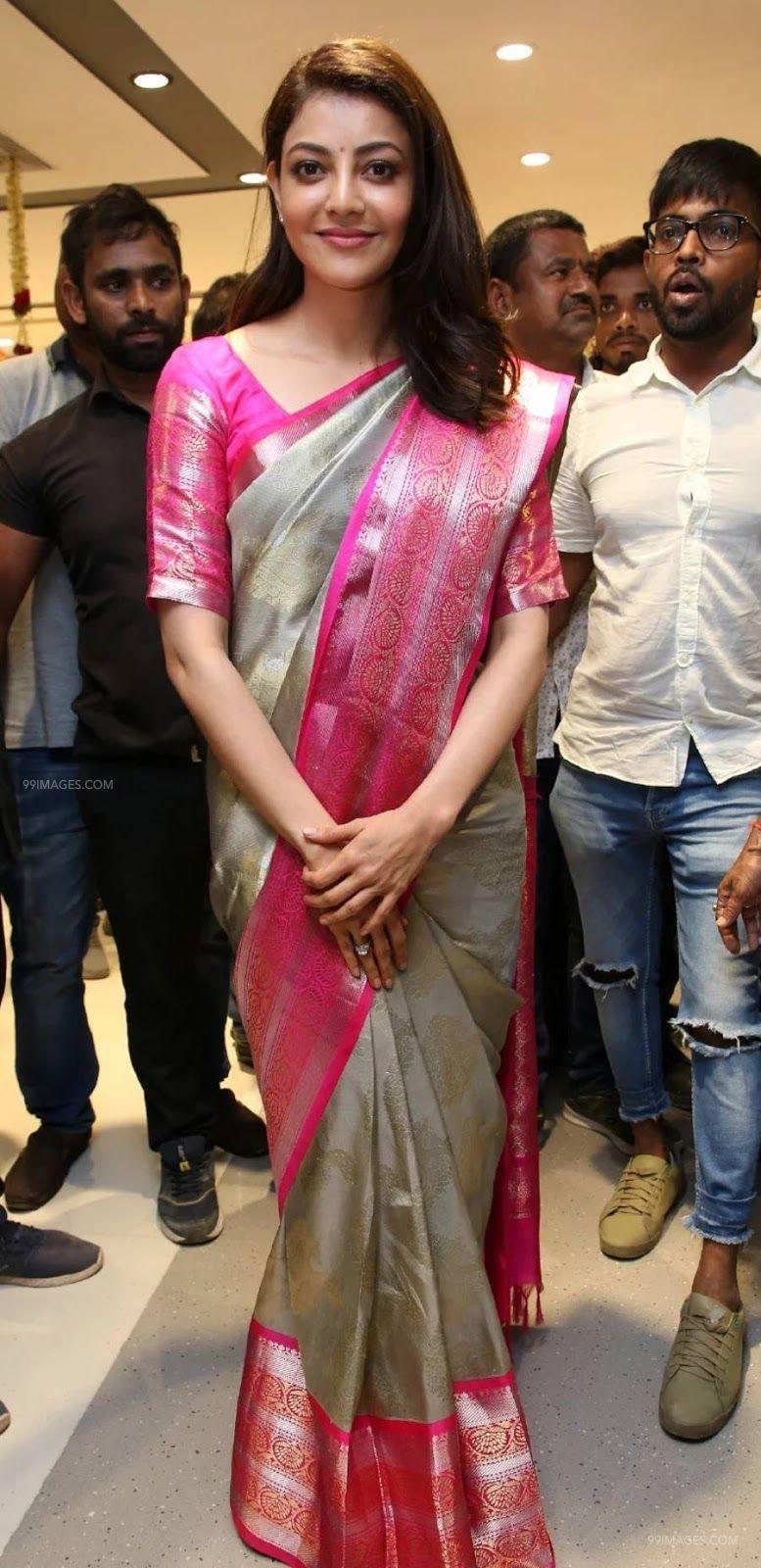 ✅[100+] Kajal Agarwals pink silk saree stills in HD
