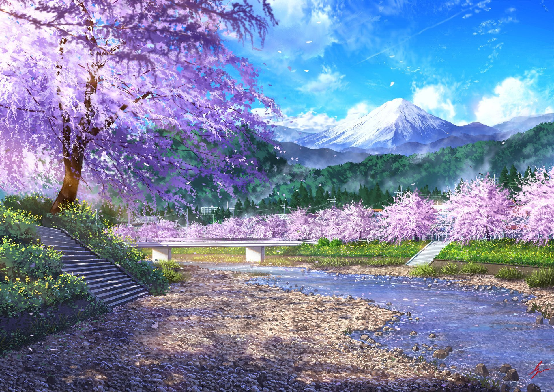 Spring Landscape Anime Wallpapers - Wallpaper Cave